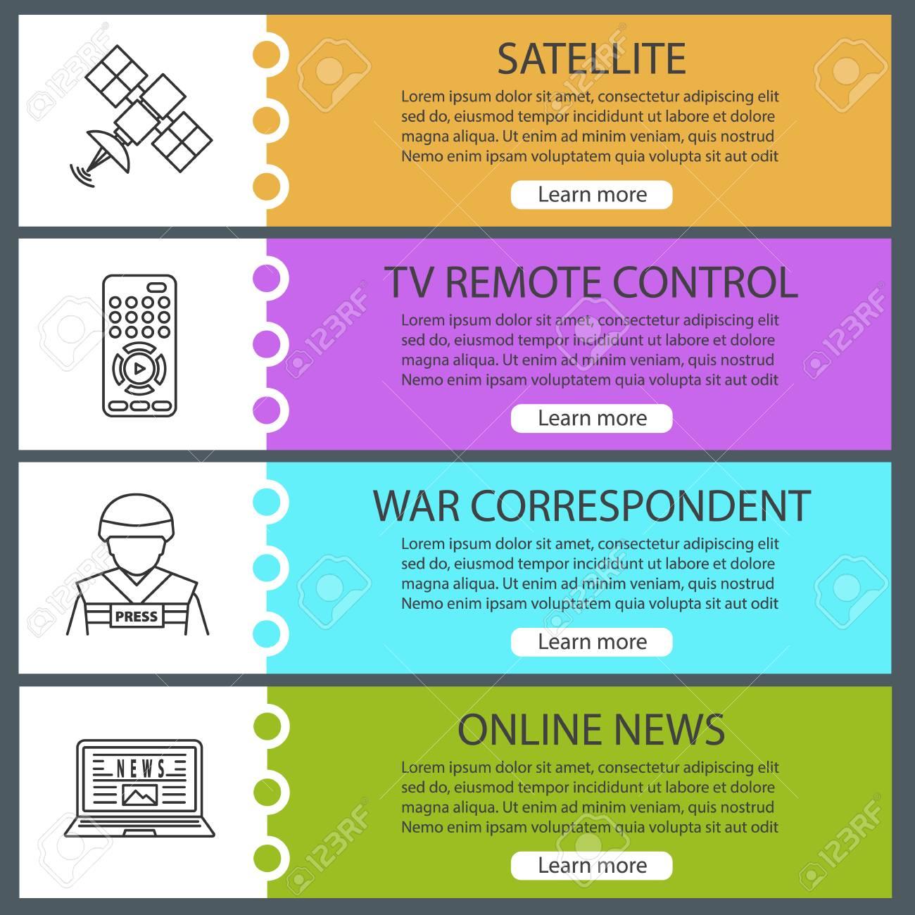 Mass media web banner templates set  Satellite signal, TV remote