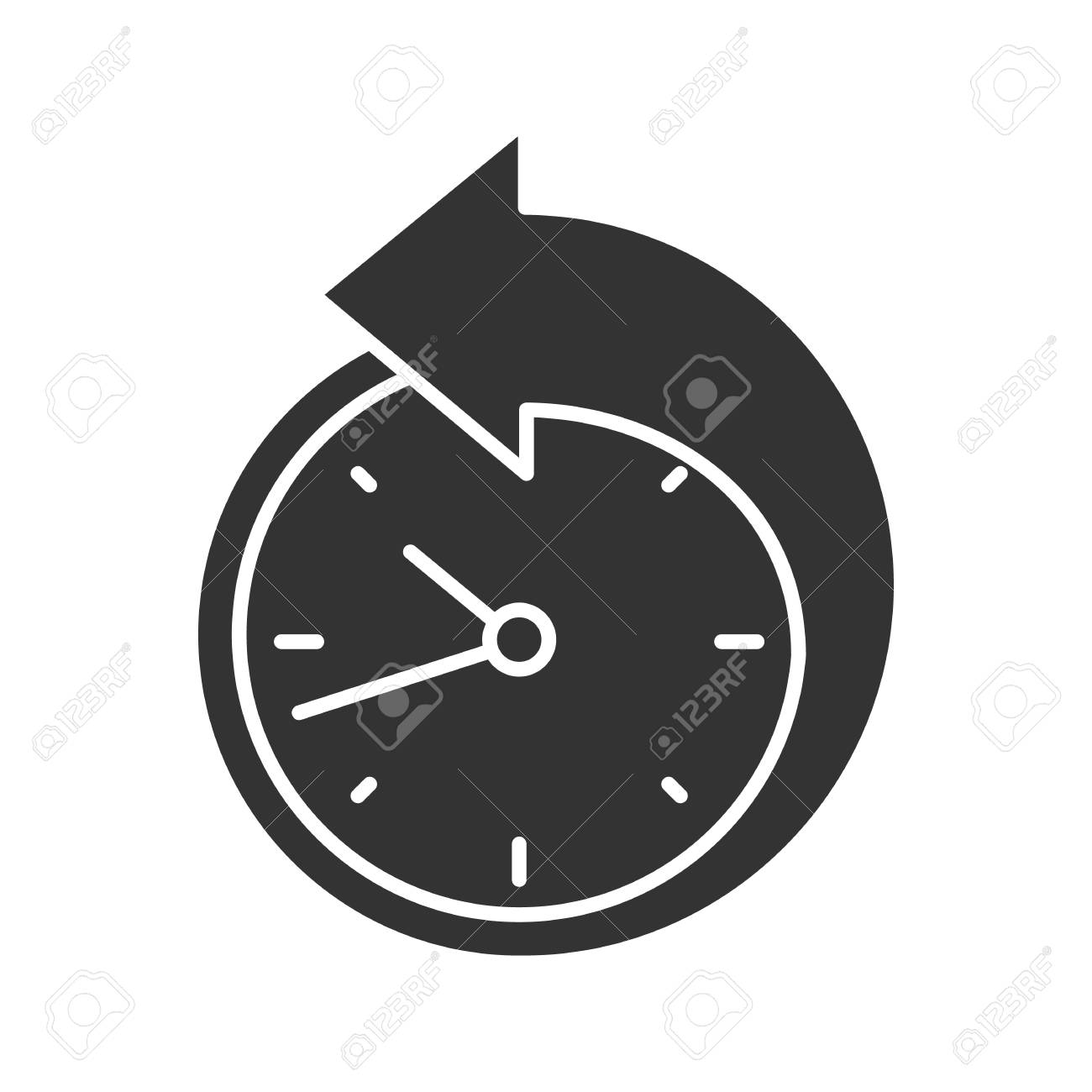 back arrow around clock glyph icon counterclockwise reschedule