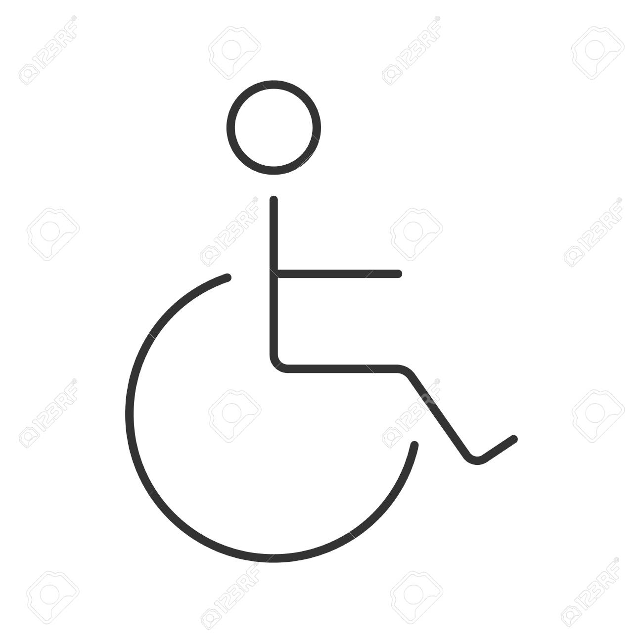 Disabled Person In Wheelchair Linear Icon Thin Line Illustration