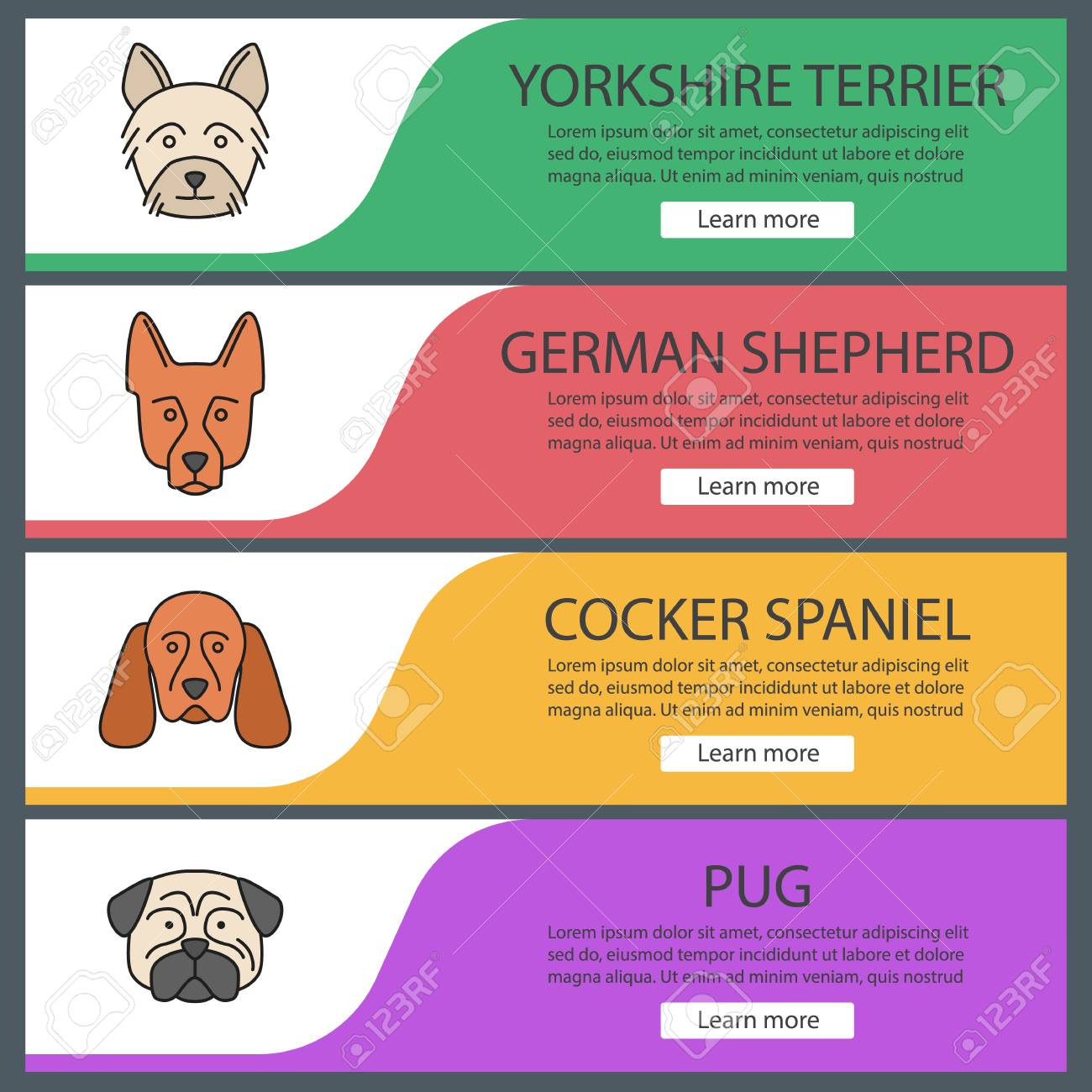 Dogs Breeds Web Banner Templates Set Website Color Menu Items Royalty Free Cliparts Vectors And Stock Illustration Image 104340970