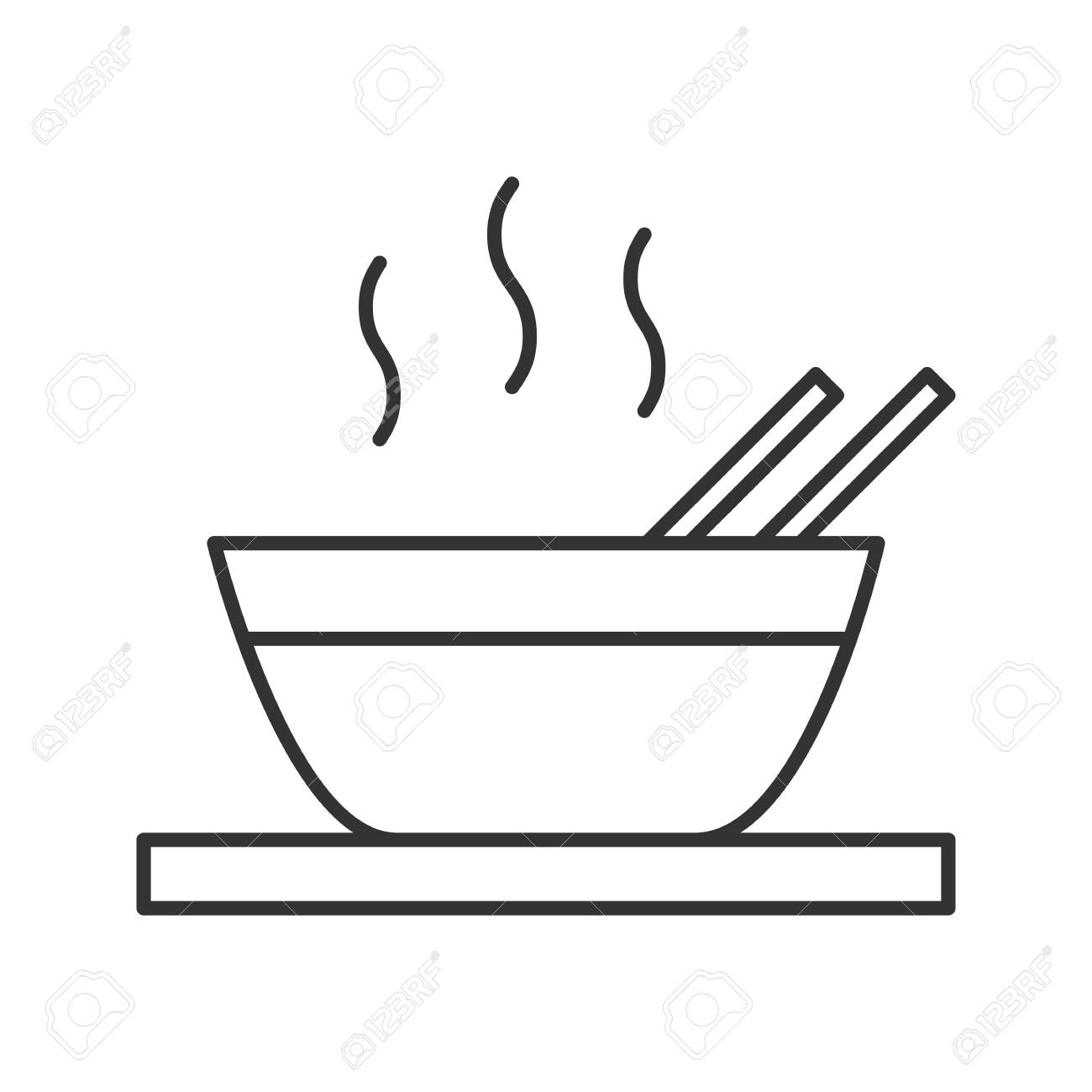 Hot Chinese Dish Linear Icon Thin Line Illustration Soup Ramen