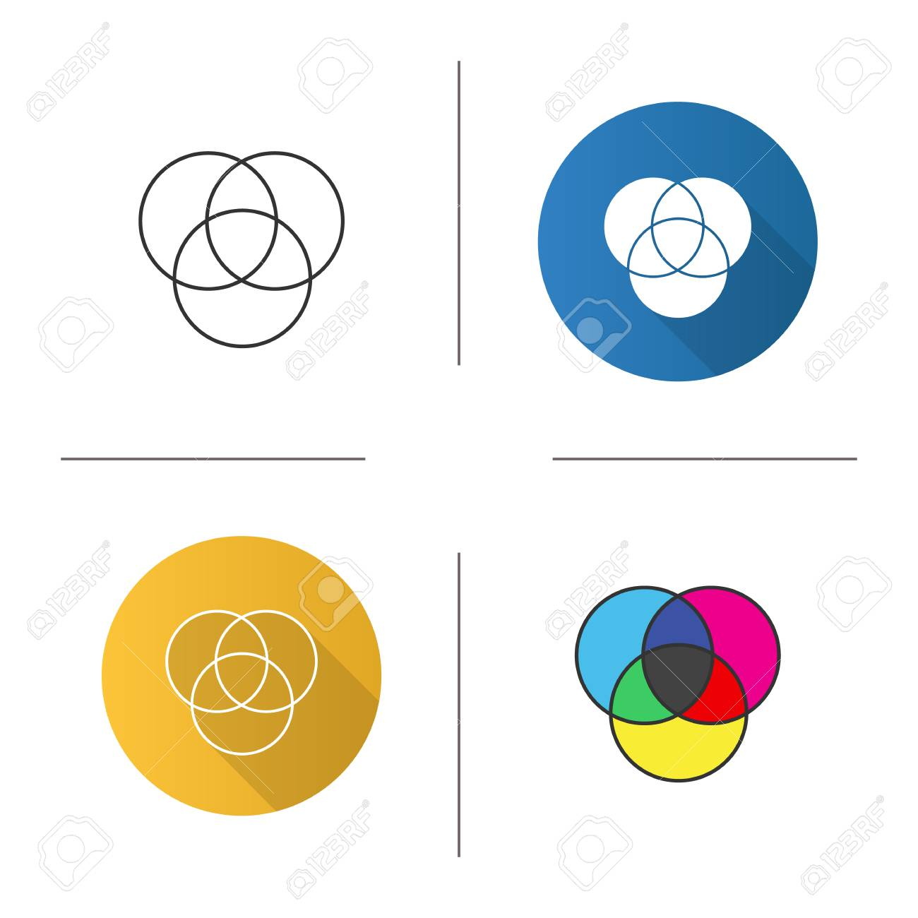 cmyk or rgb color circles icon  venn diagram  overlapping circles  flat  design,
