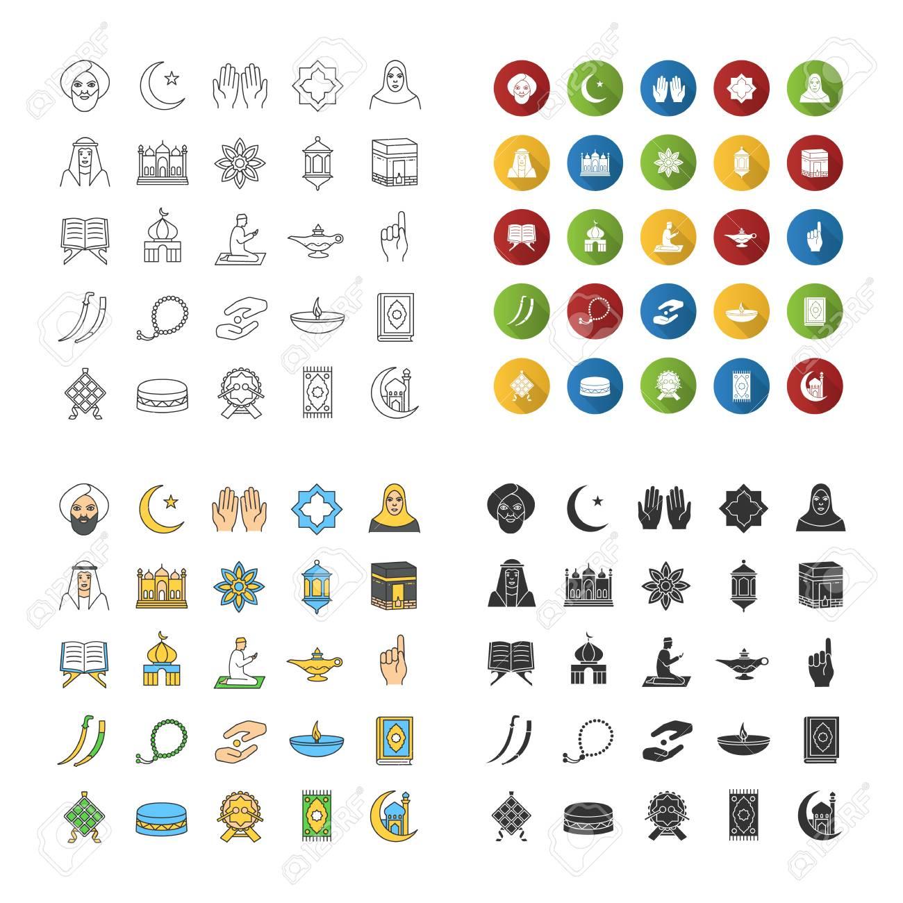 Islamic Culture Icons Set Muslim Attributes Religion Symbolism