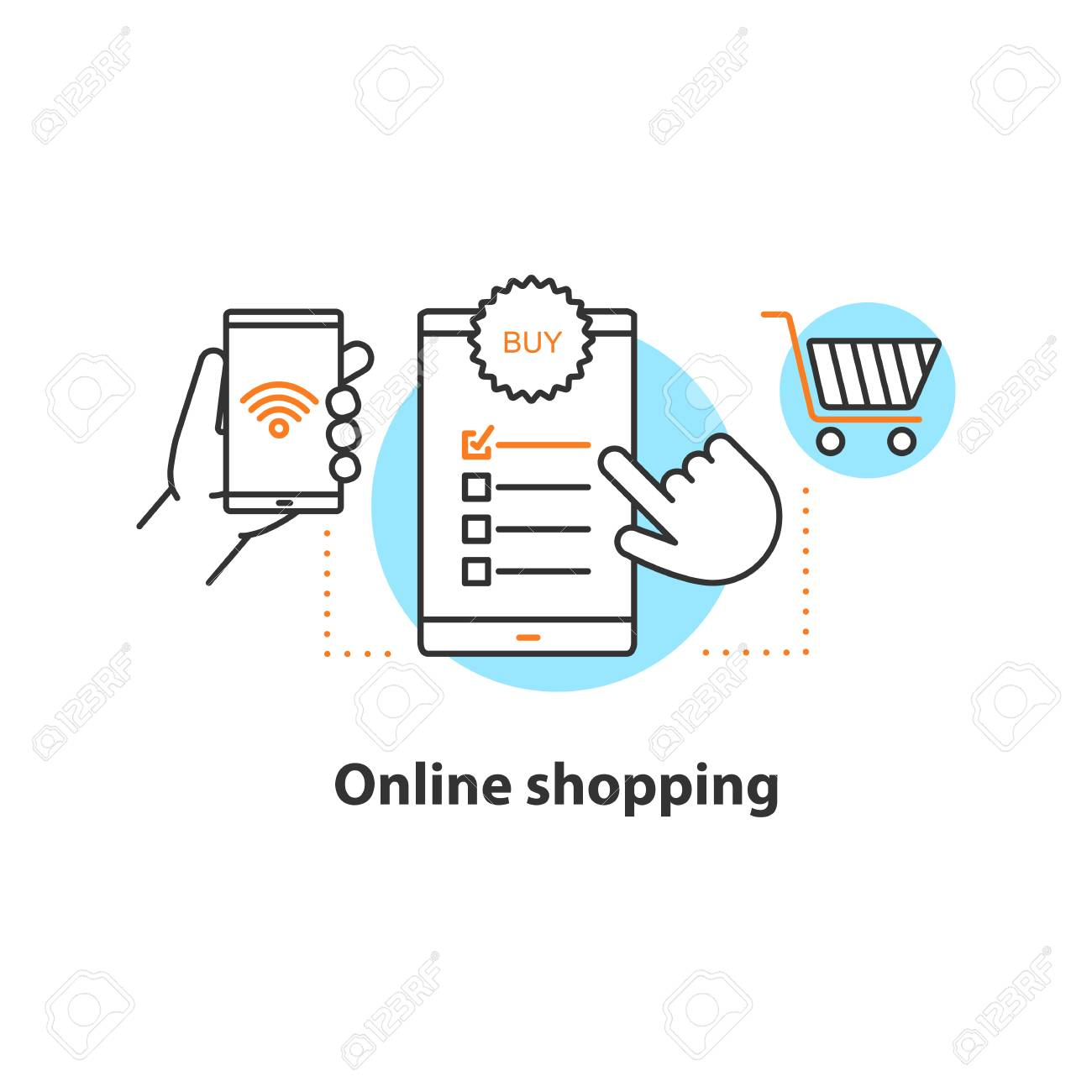 Online shopping concept icon. Digital purchase idea thin line illustration. Select items. Vector isolated outline drawing - 104486812