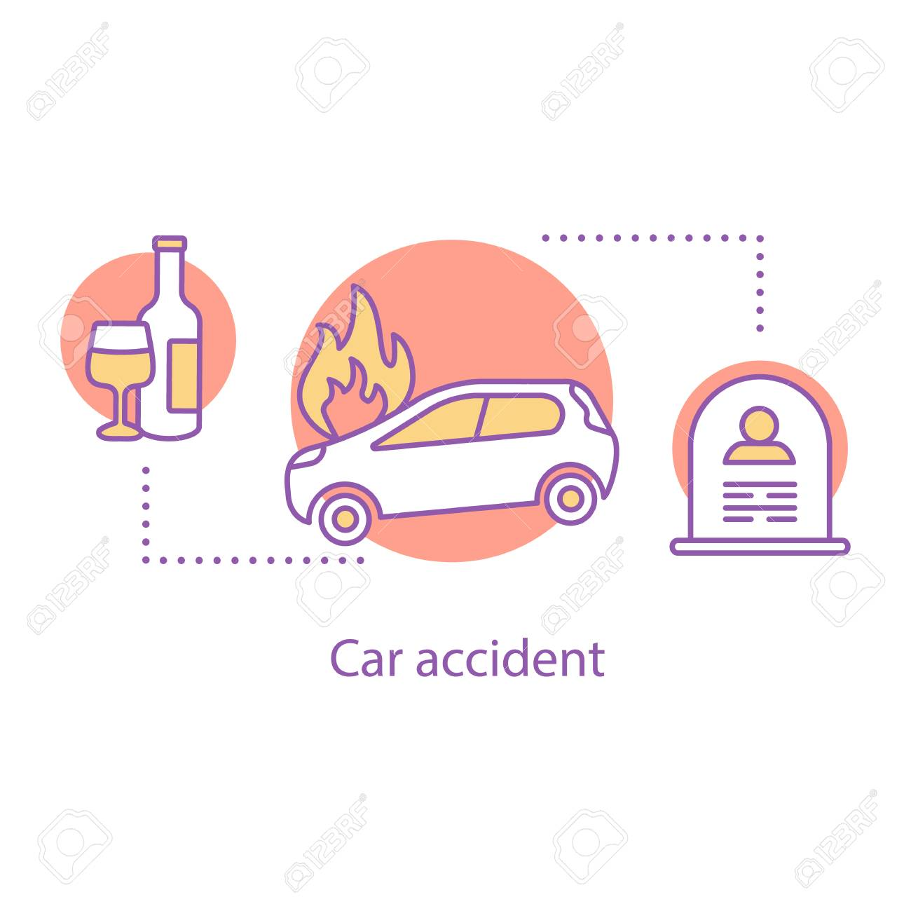 Car Accident Concept Icon Alcohol Related Death Idea Thin Line