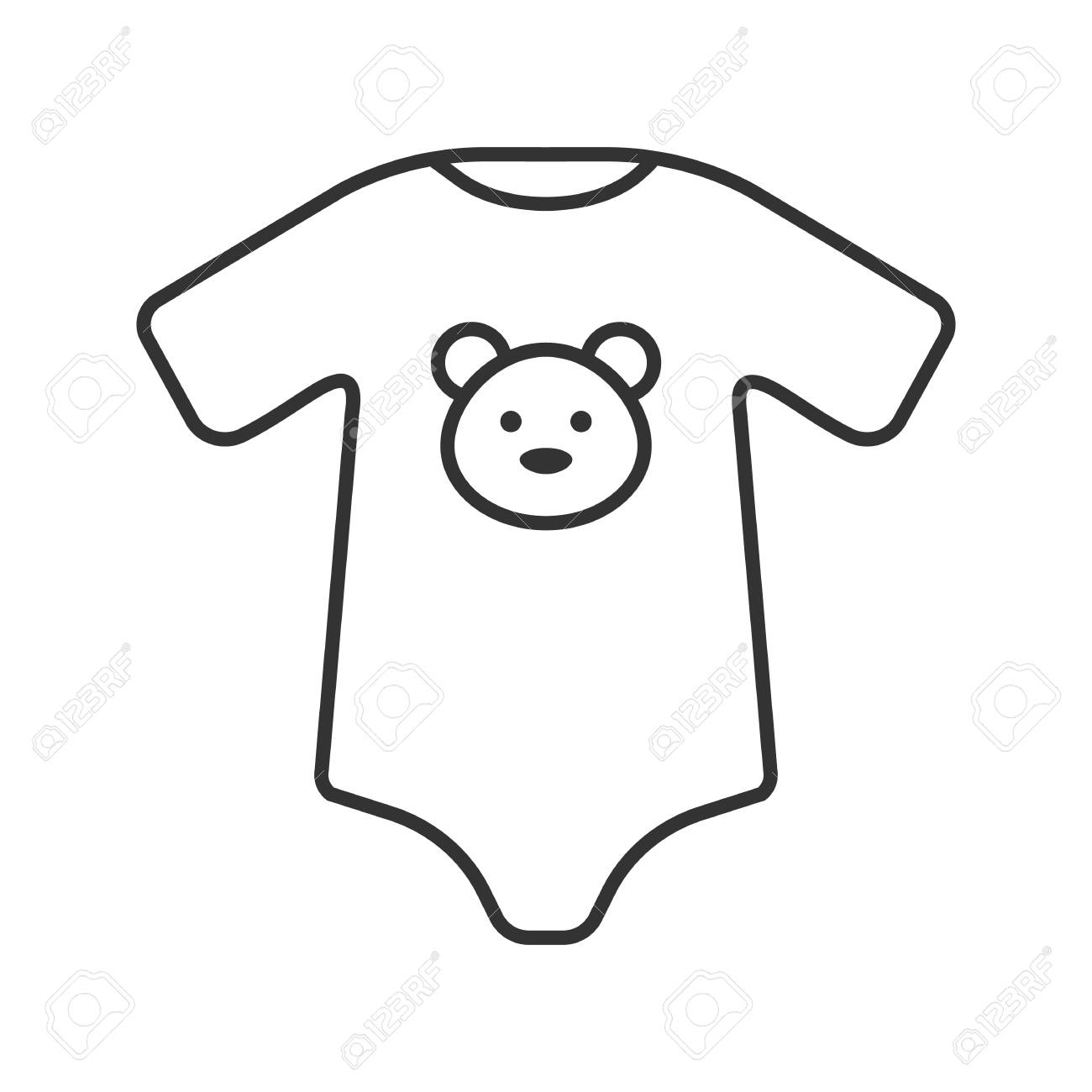 ddd831000f2 Vector isolated outline drawing. Baby bodysuit linear icon. Thin line  illustration. Newborn baby clothes. Contour symbol.