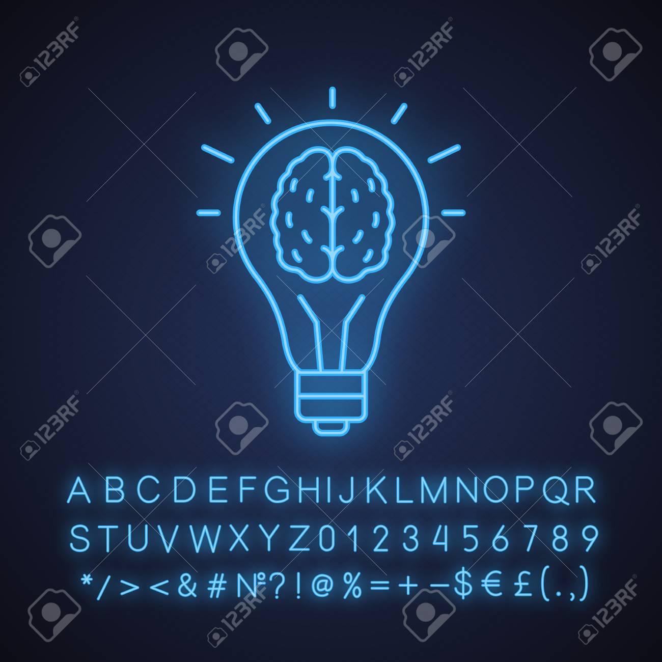 Neon Light Bulbs >> Good Idea Neon Light Icon Human Brain Inside Light Bulb Eureka