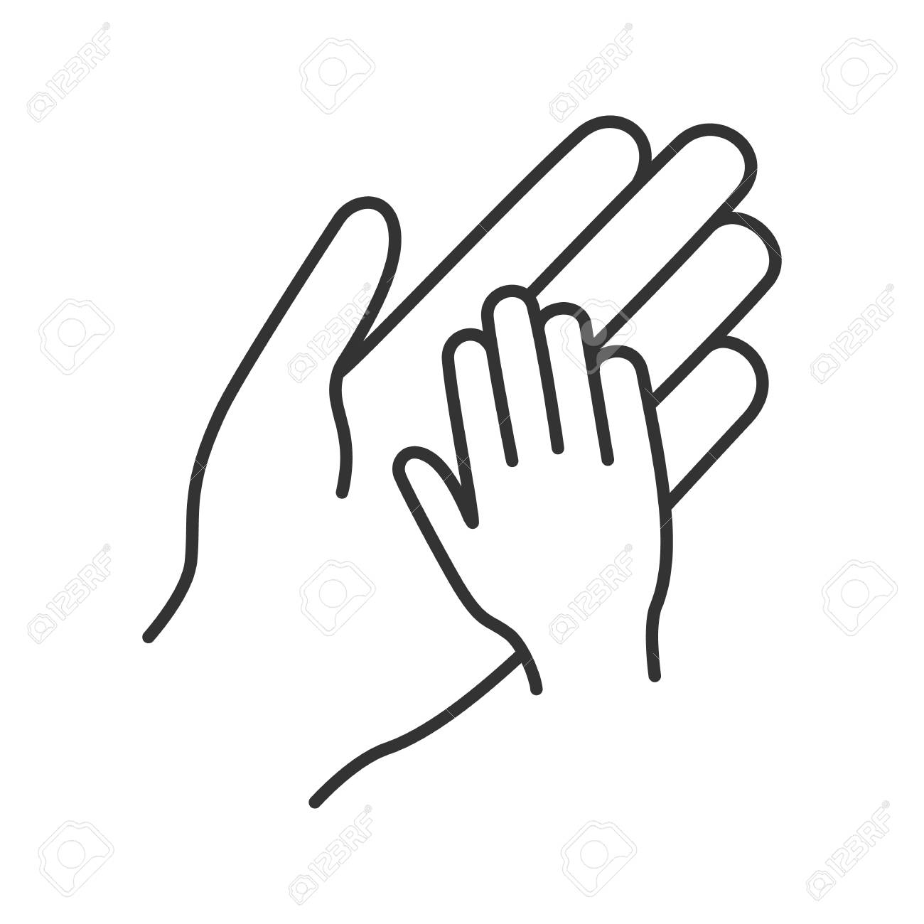 Charity For Children Linear Icon Parent And Child Hands Together