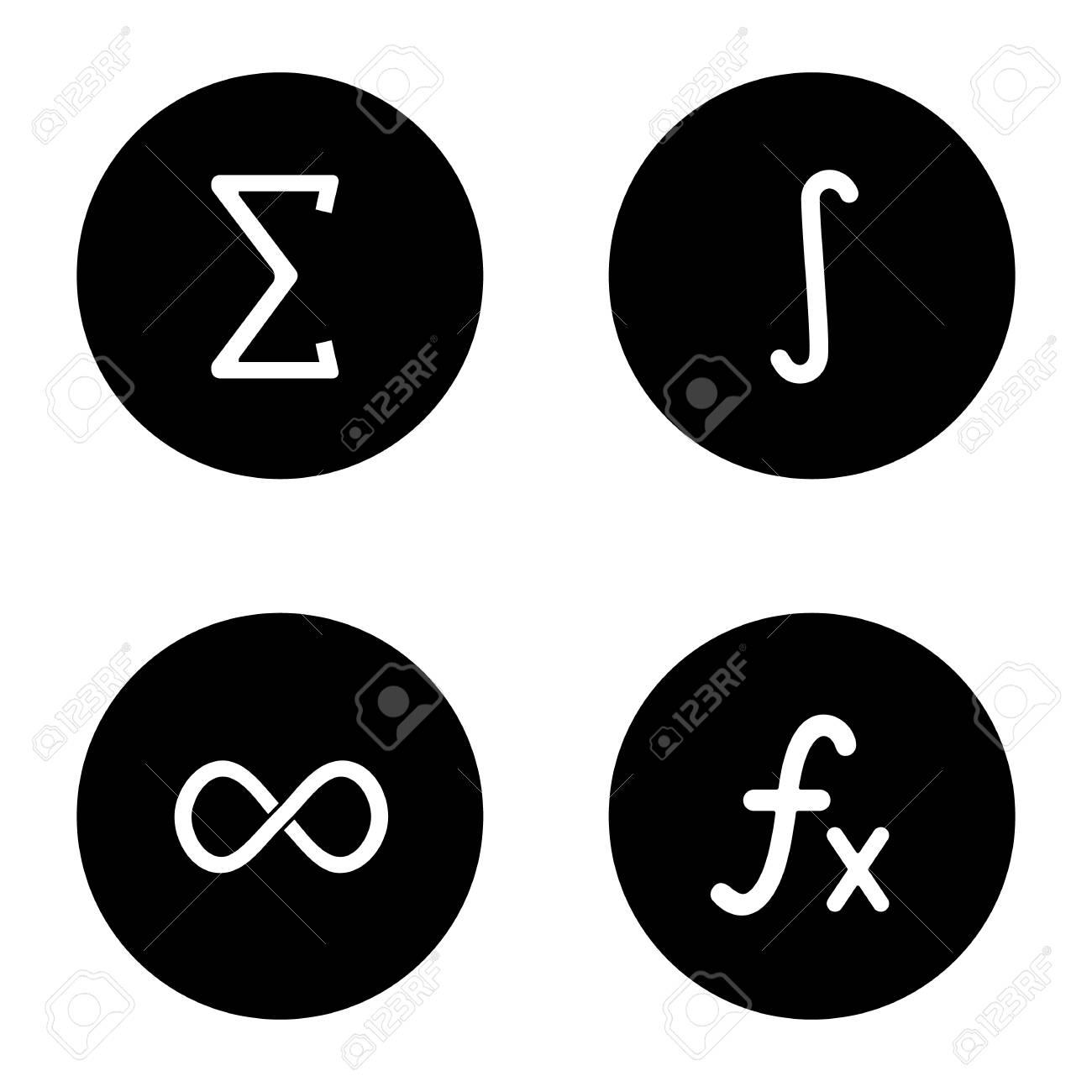 Mathematics Glyph Icons Set Sigma Integral Infinity Sign
