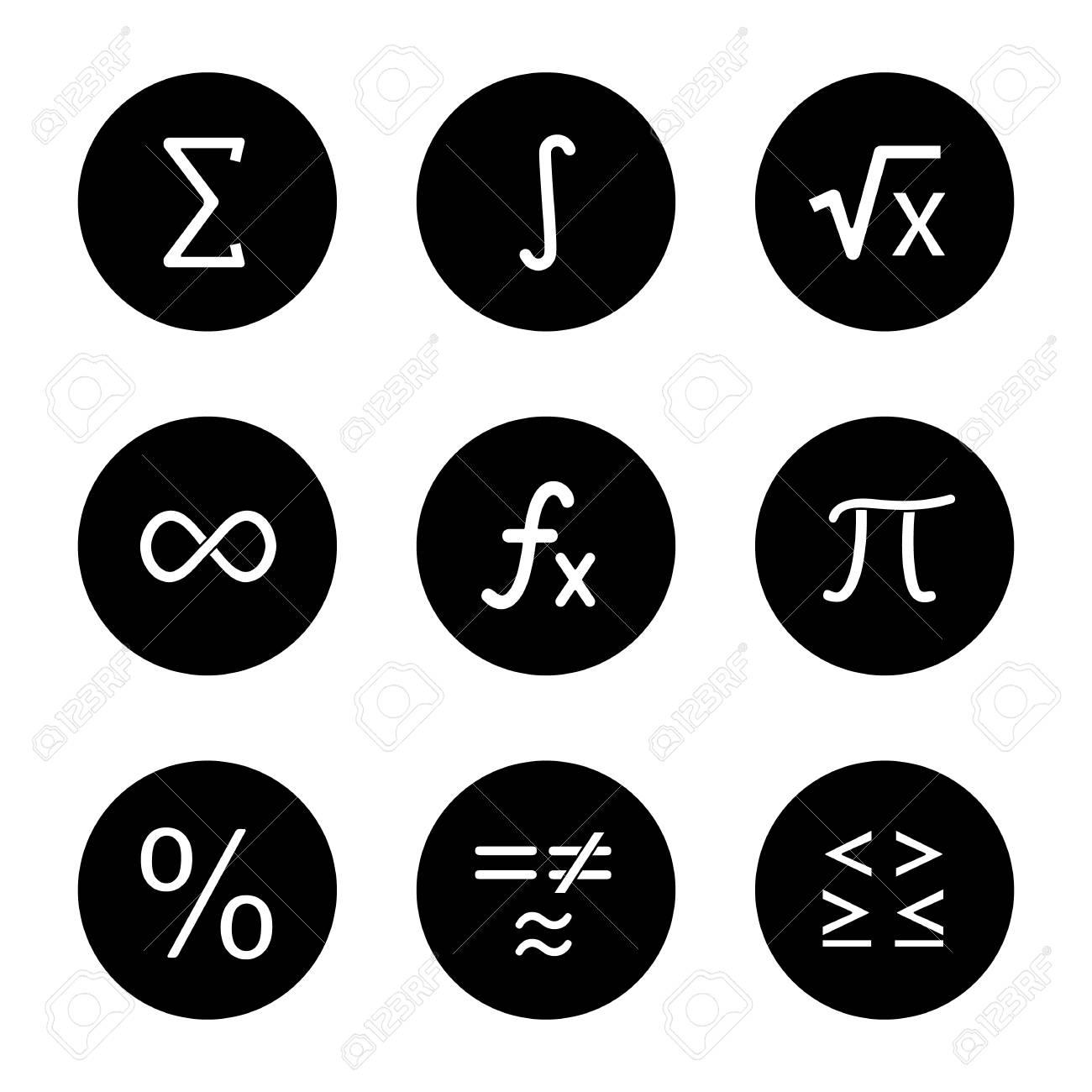mathematics glyph icons set. math symbols. algebra. vector white