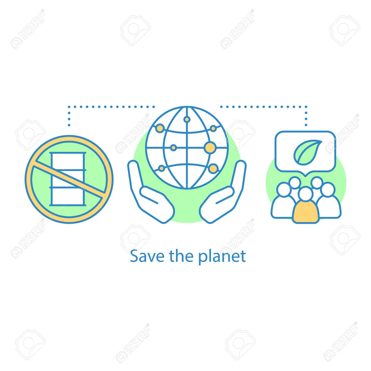 Vector isolated outline drawing planet saving concept icon environmental movement idea thin line illustration pollution prevention environment