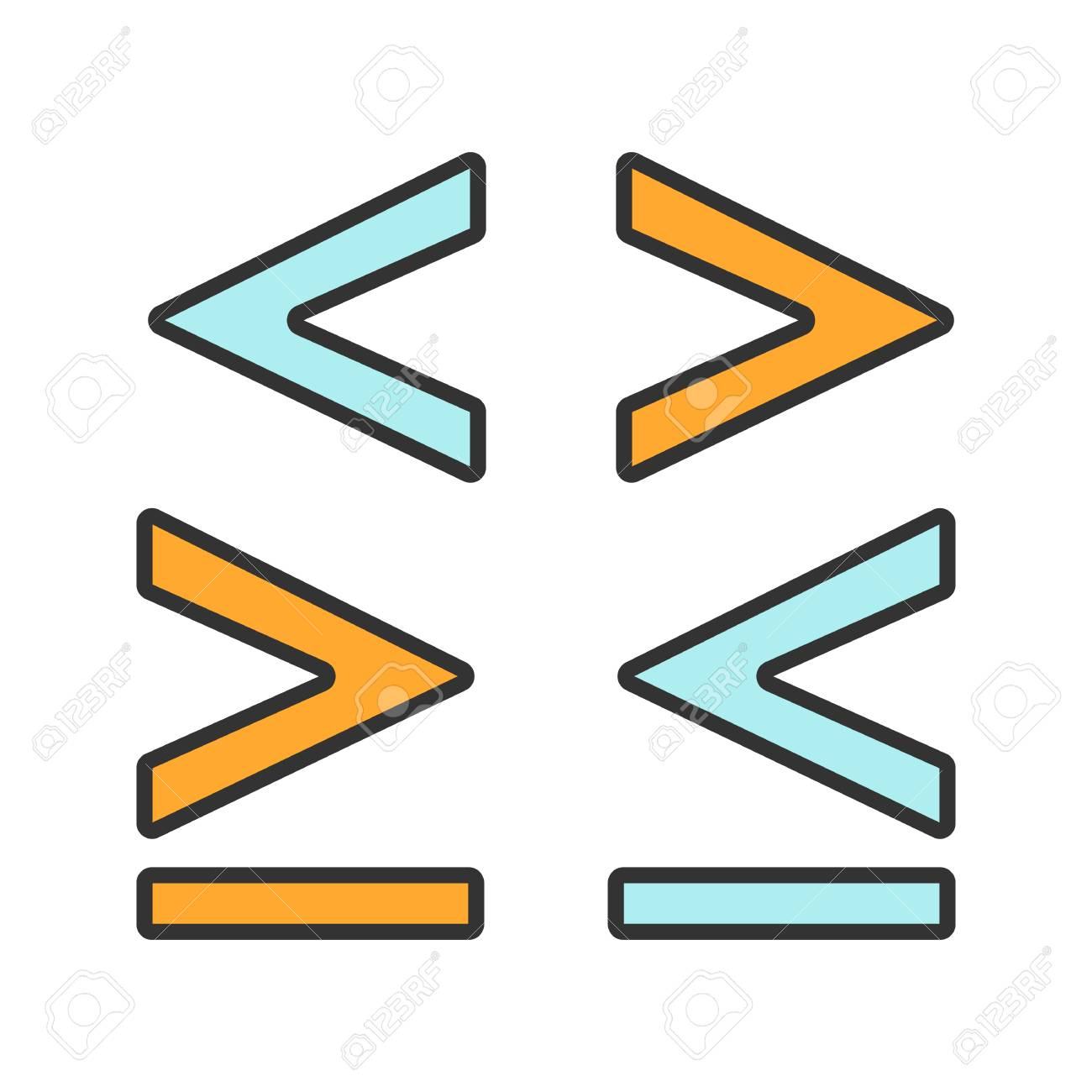 Math Symbols Color Icon Is Less Greater Or Equal Than Signs Royalty Free Cliparts Vectors And Stock Illustration Image 105953528