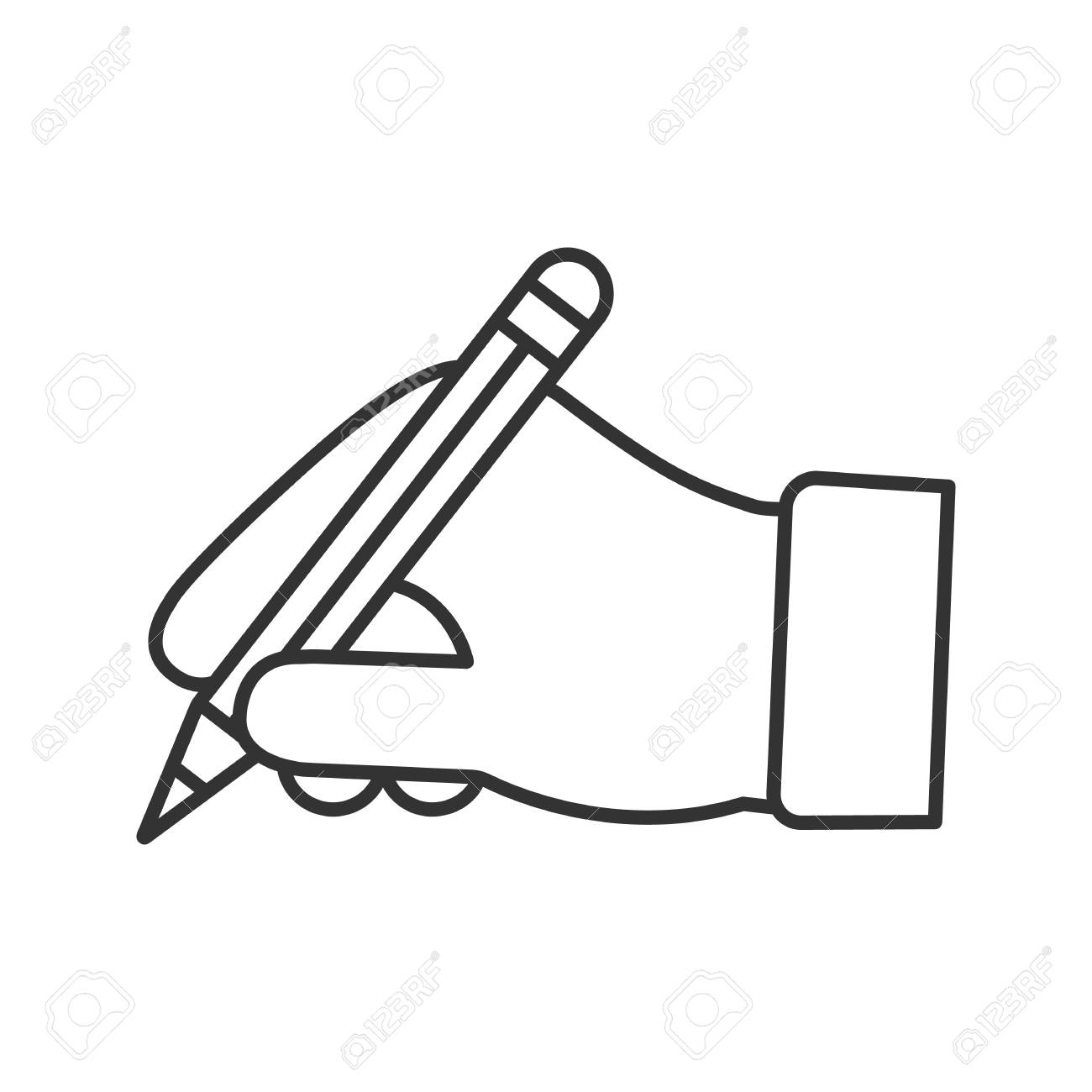 hand holding pencil linear icon thin line illustration handwriting royalty free cliparts vectors and stock illustration image 106249883