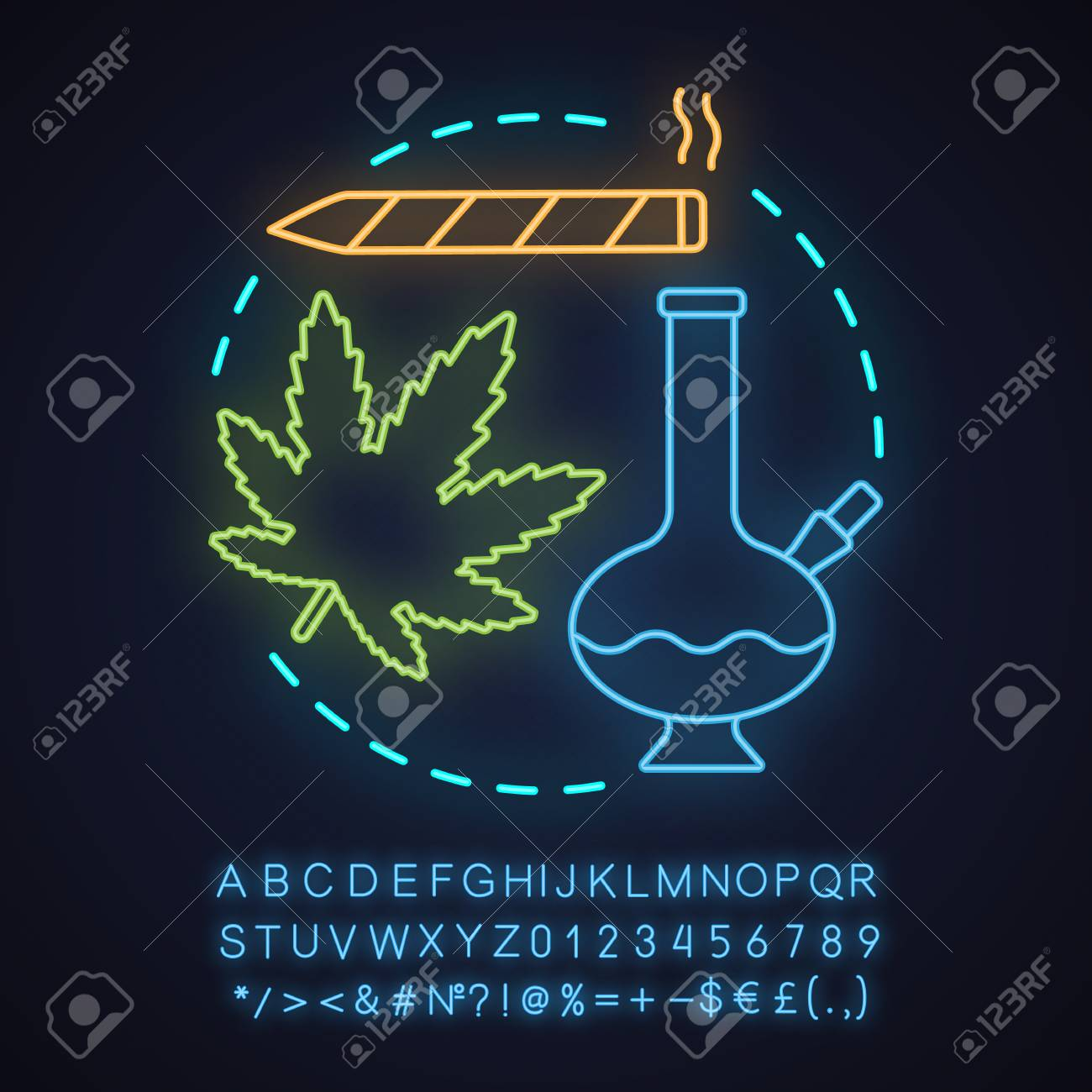 Marijuana Culture Neon Light Concept Icon Cannabis Ganja Idea