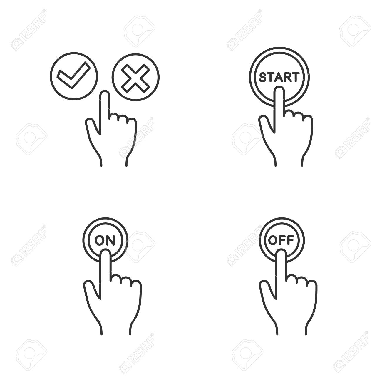App Buttons Linear Icons Set Click Accept And Decline Start