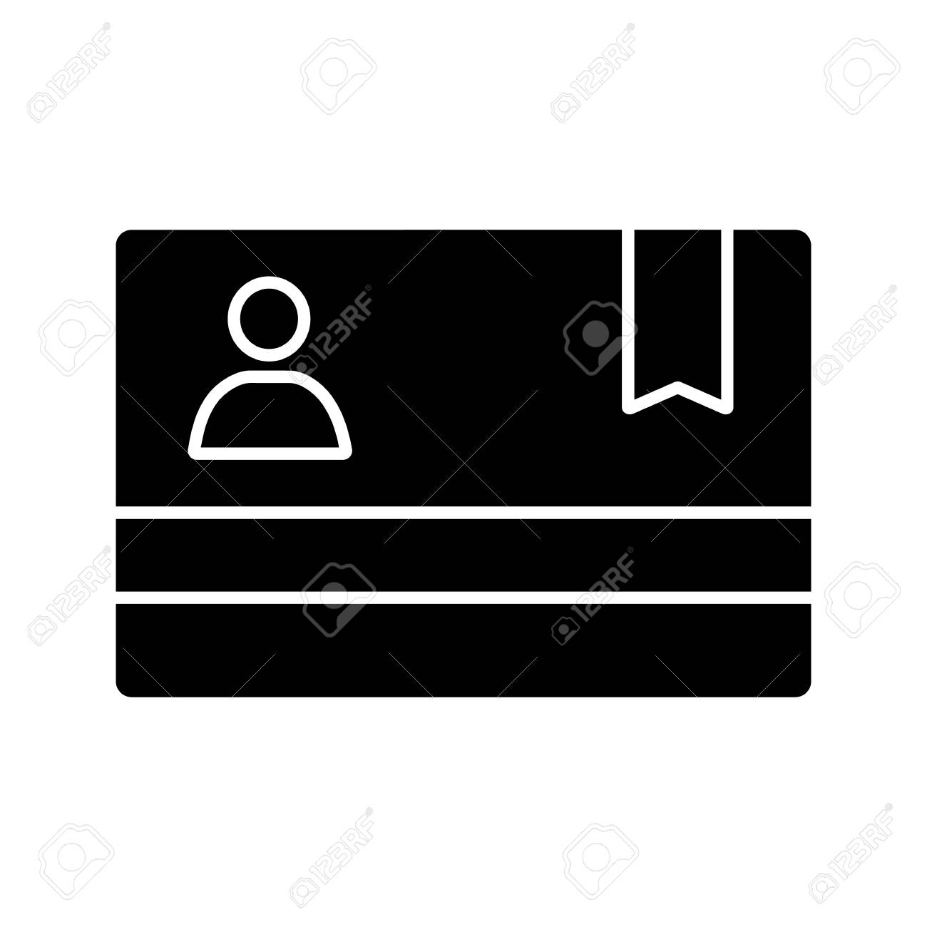 Membership card glyph icon. Business card. ID badge. Silhouette symbol. Negative space. Vector isolated illustration - 106706074