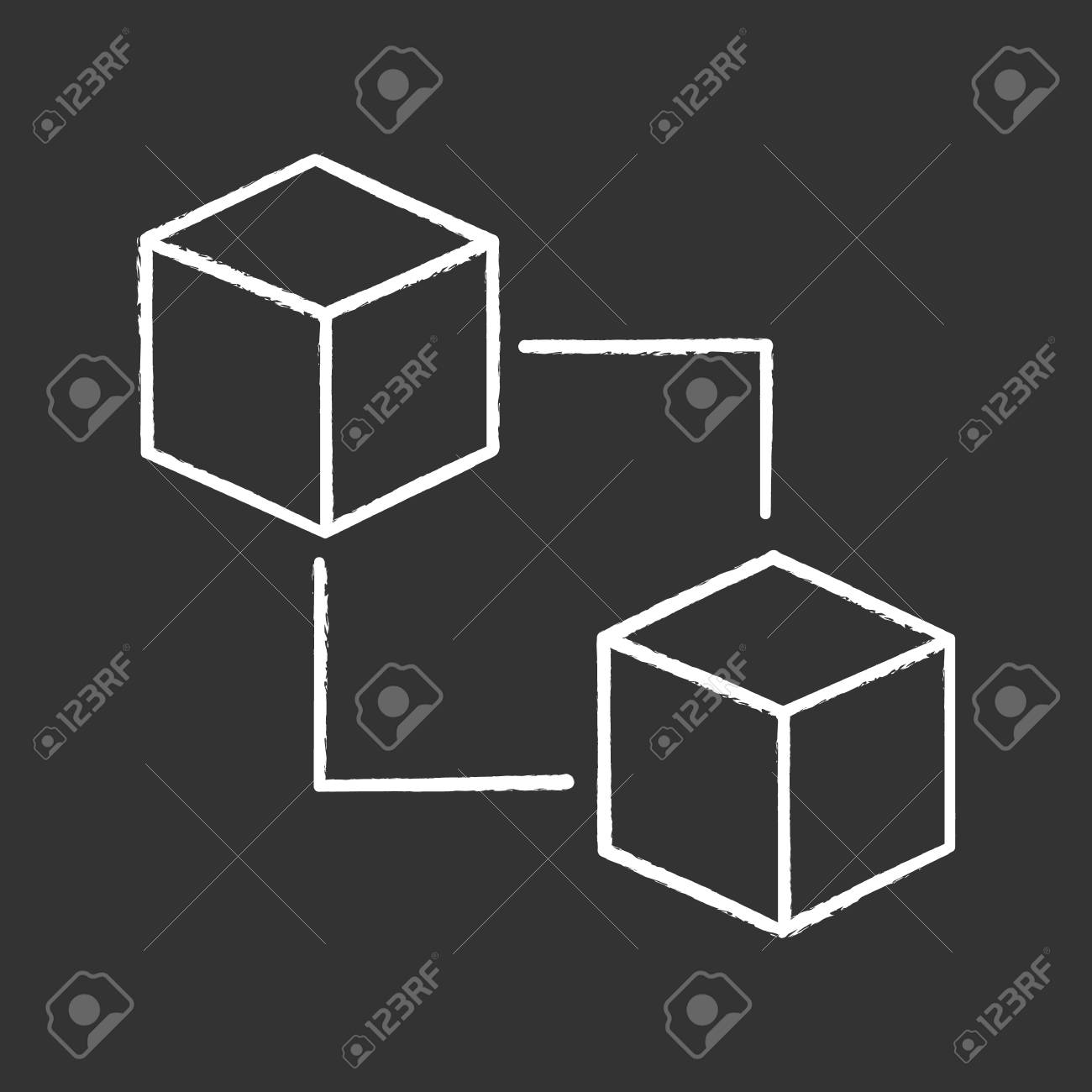Blockchain Technology Chalk Icon Cryptocurrency Fintech E Commerce Block Diagram Connected Cubes
