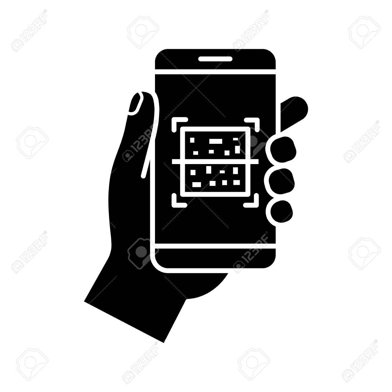 QR code smartphone scanner glyph icon  Silhouette symbol  Quick