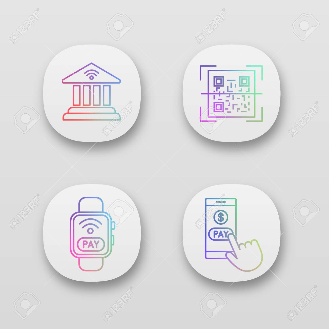 E-payment app icons set  Online banking, QR code scanner, NFC
