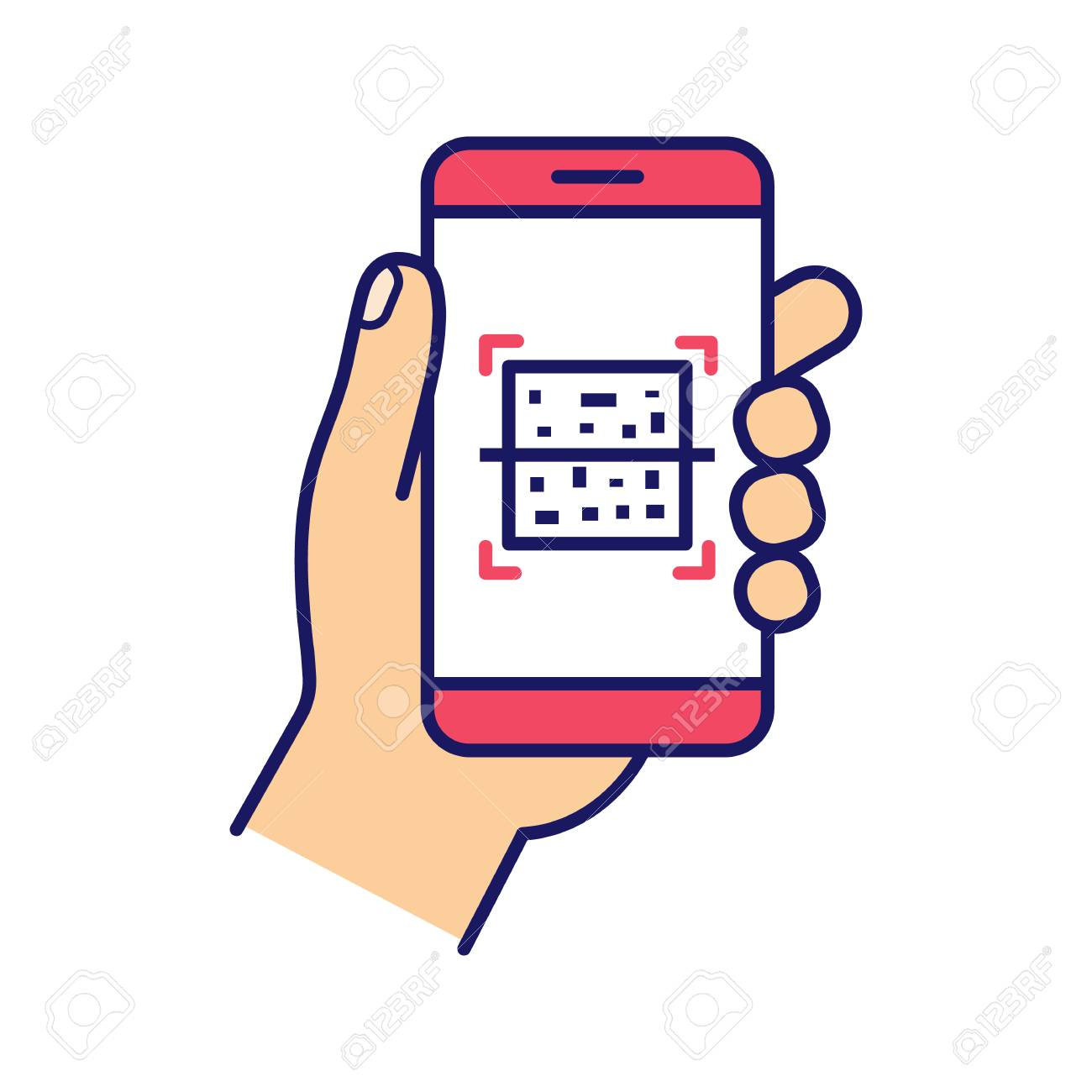 QR code smartphone scanner color icon  Quick response code  Matrix