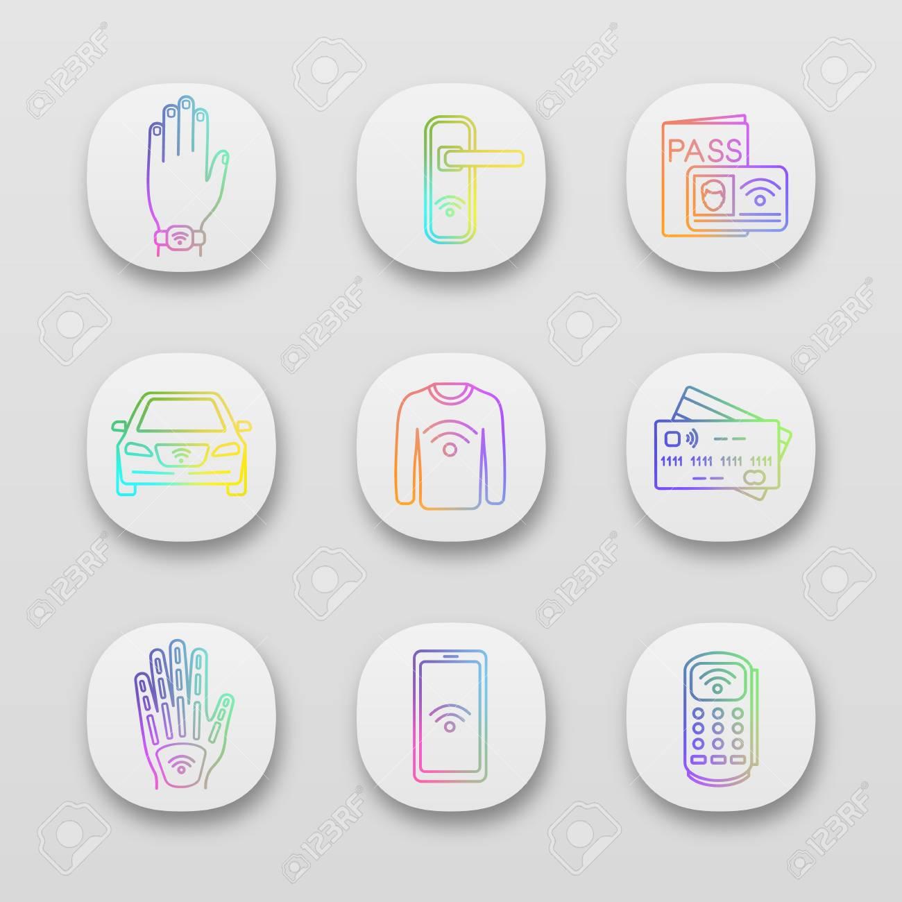 NFC technology app icons set  Near field bracelet, door lock,