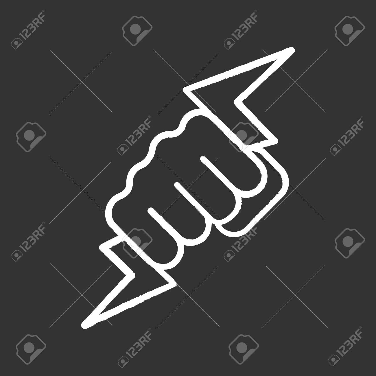 Hand Holding Lightning Bolt Chalk Icon Power Fist Electric
