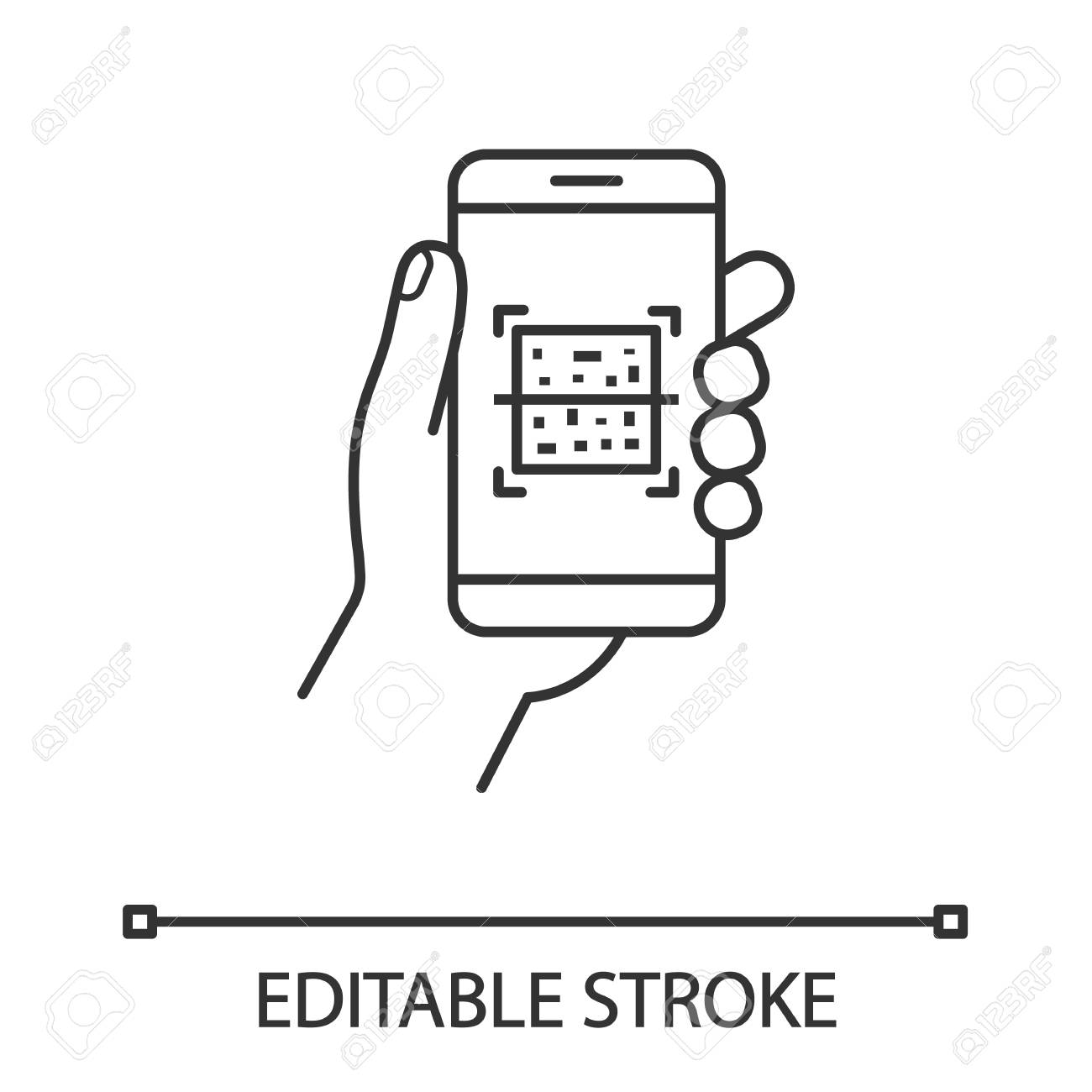 QR code smartphone scanner linear icon  Thin line illustration