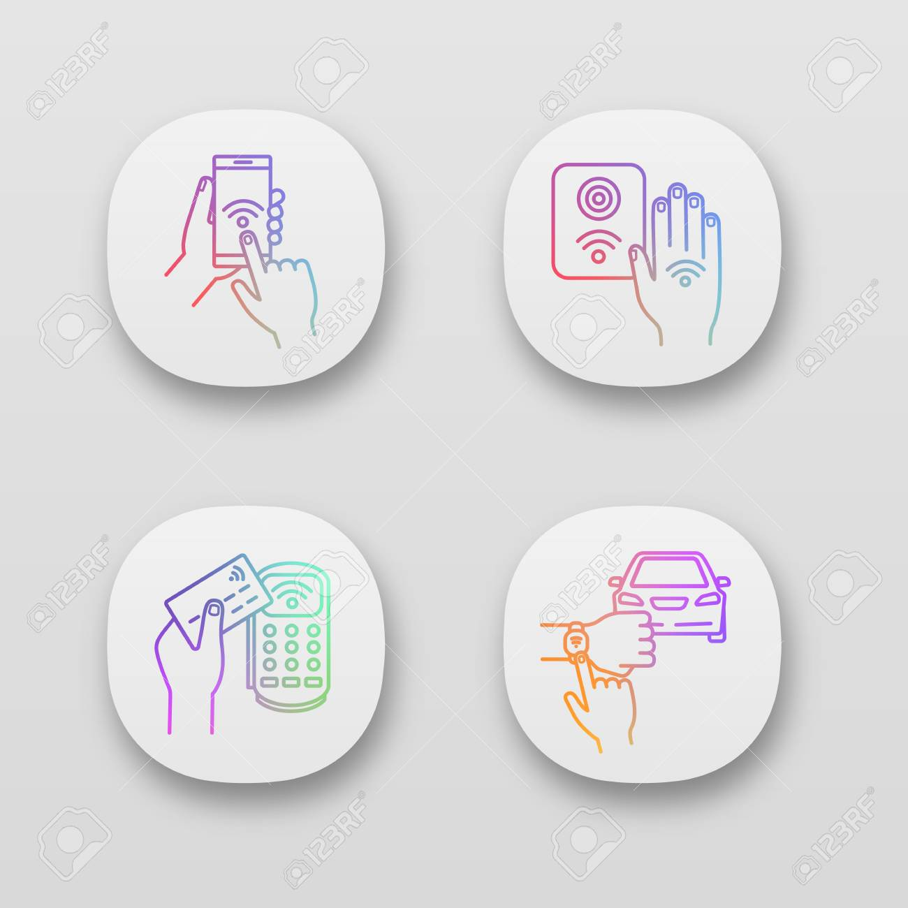 NFC technology app icons set  Near field smartphone, car and