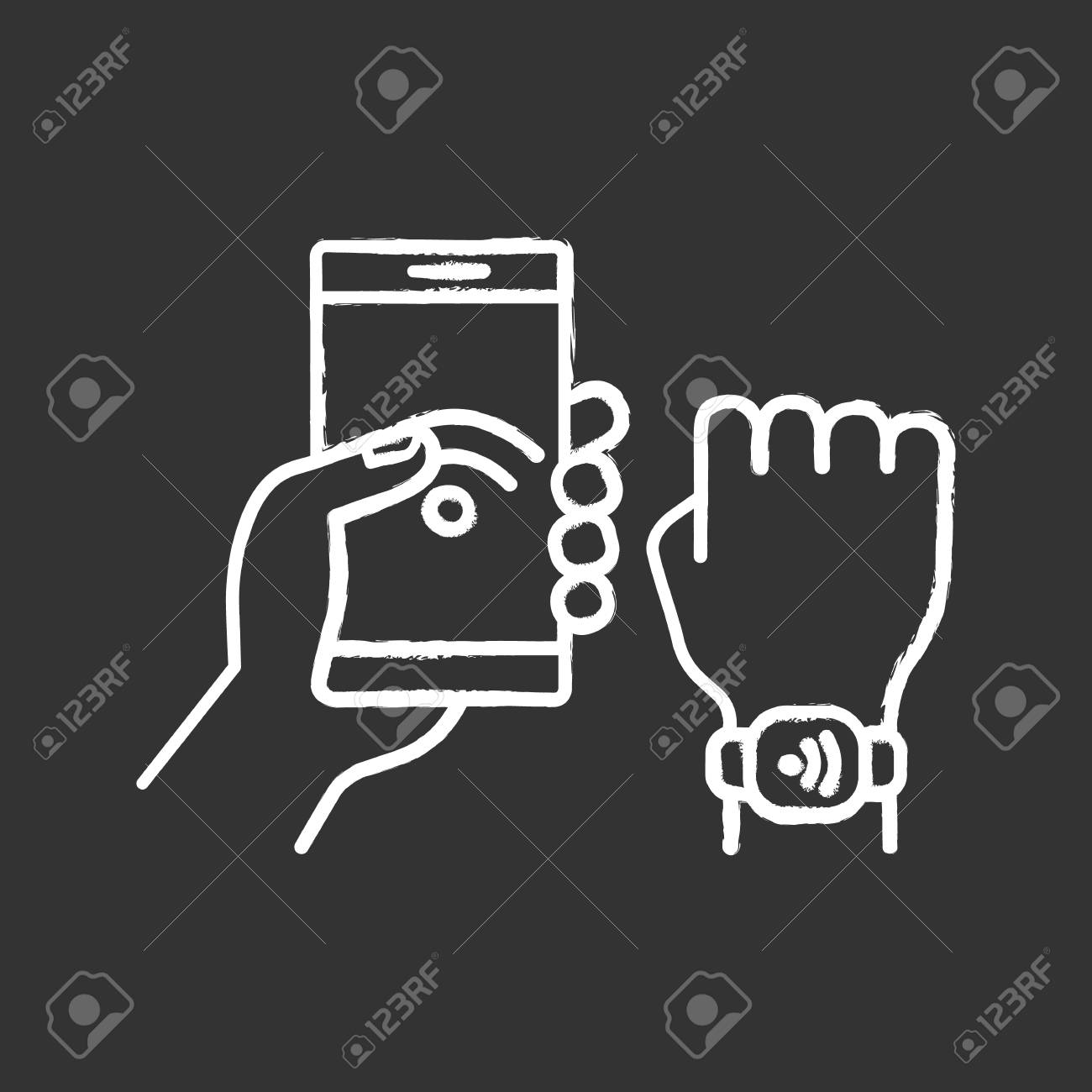 ebd5179c874b NFC phone synchronized with smartwatch. Near field communication.RFID  wristband. Isolated vector chalkboard illustration