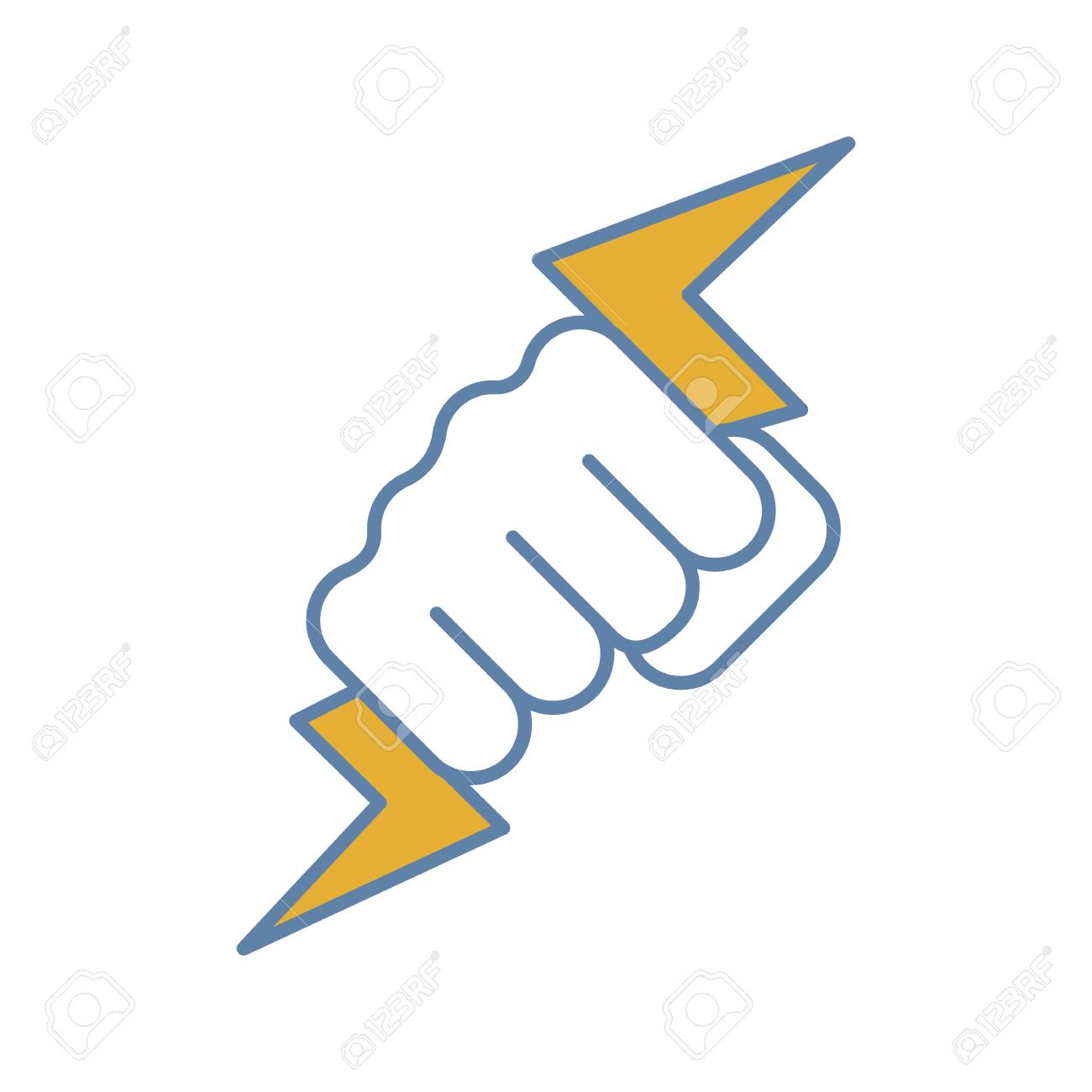 Hand Holding Lightning Bolt Color Icon Power Fist Electric