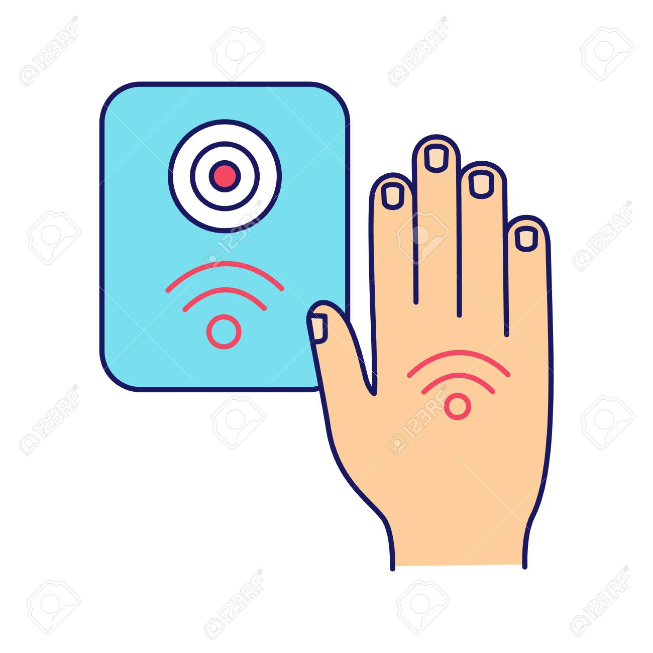 NFC reader color icon  RFID access control  NFC button and hand