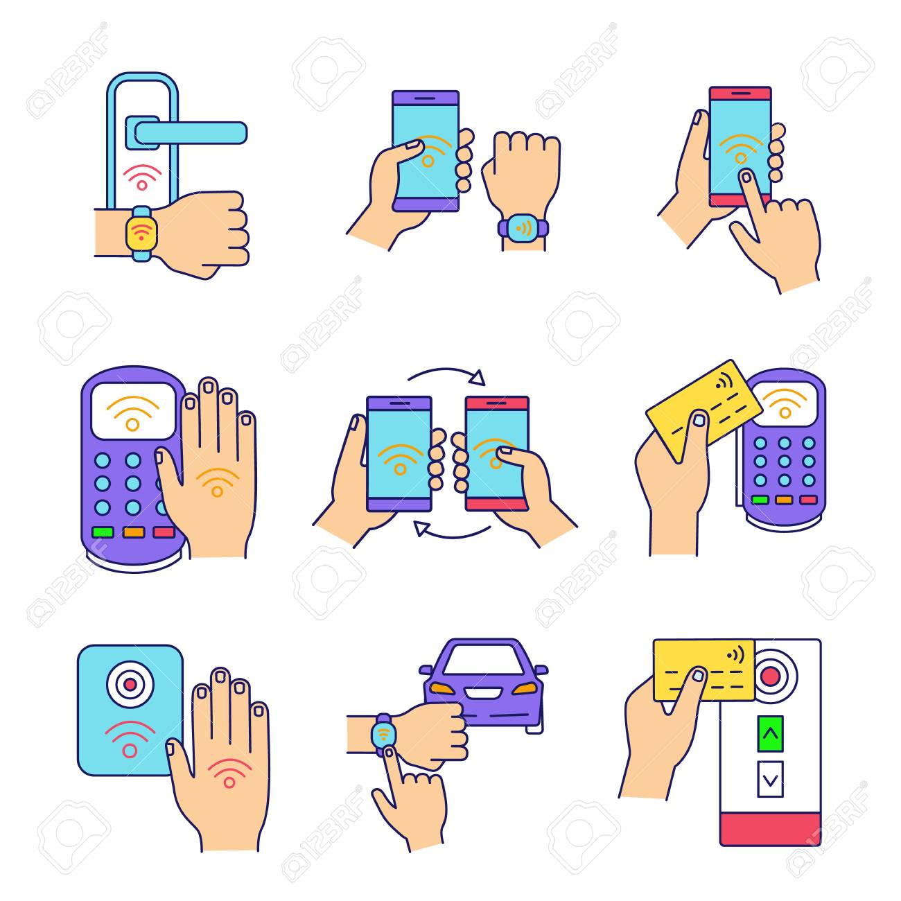 NFC technology color icons set  NFC bracelet, door lock, data