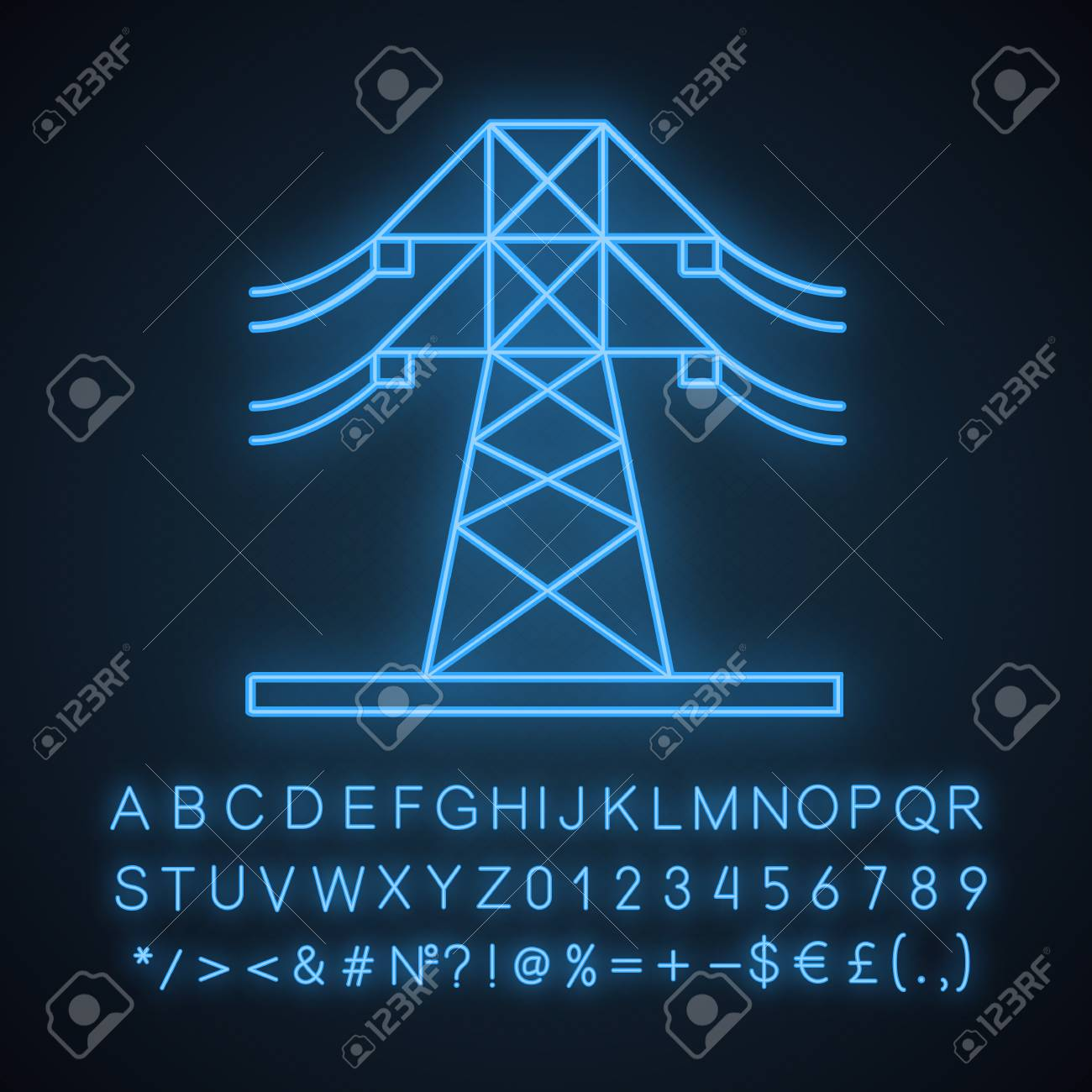 High voltage electric line neon light icon  Powerline  Electric