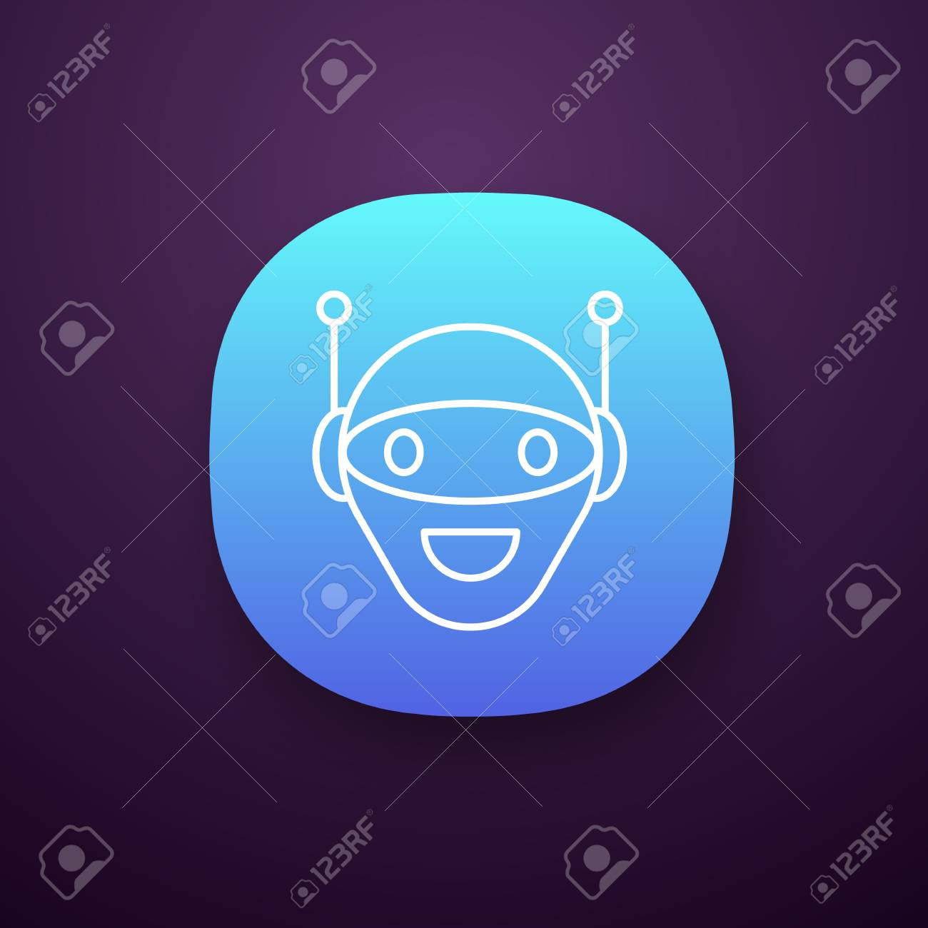 Chatbot app icon  UI/UX user interface  Talkbot  Modern robot
