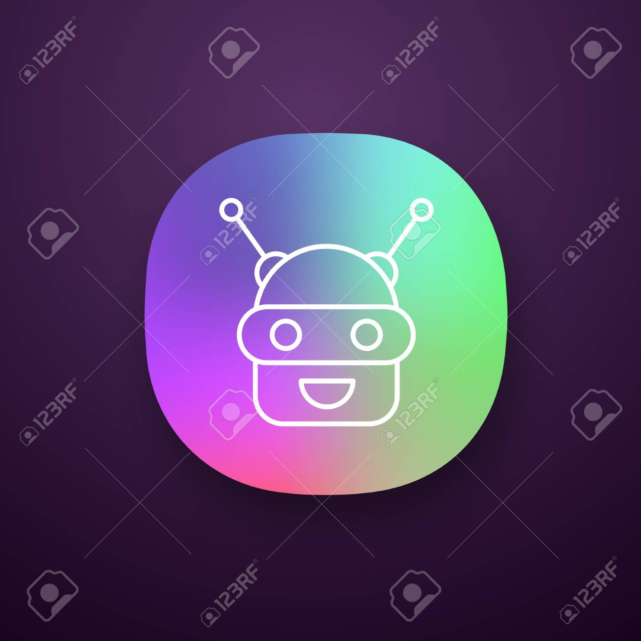 Chatbot app icon  UI/UX user interface  Talkbot  Modern robot