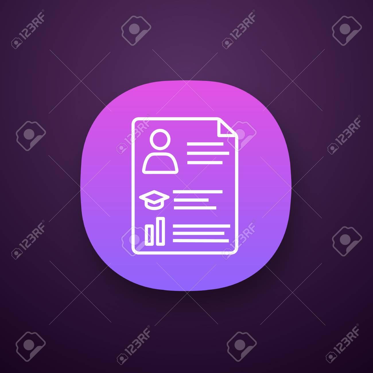 Resume App Icon Ui Ux User Interface Cv Curriculum Vitae