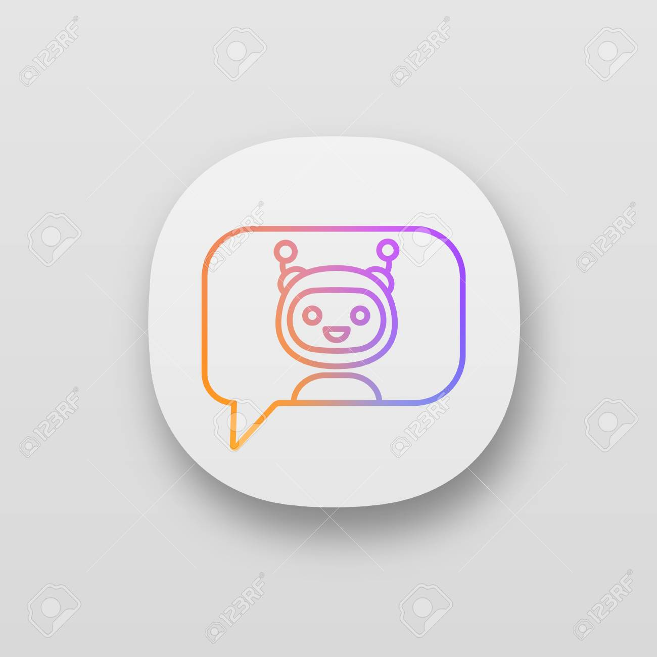 Chatbot in speech bubble app icon  UI/UX user interface  Talkbot