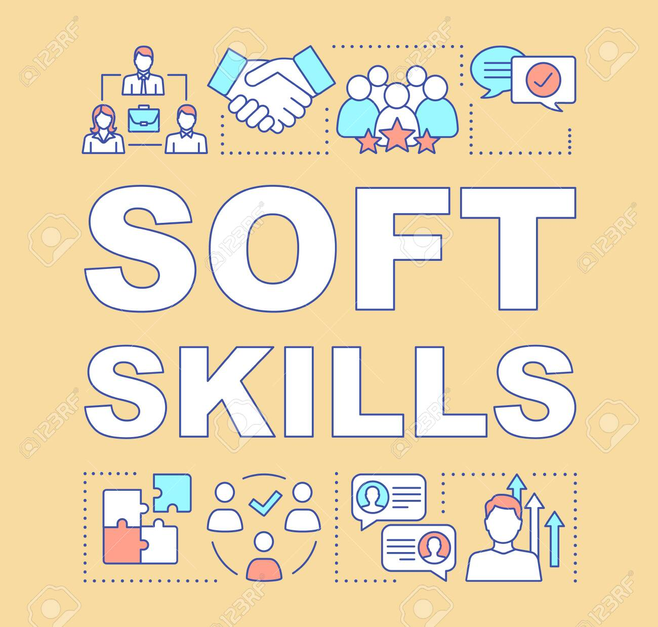 Soft skills word concepts banner. Teamwork idea, personal growth, professional relationship. Human resources presentation. Isolated typography idea with linear icons. Vector outline illustration - 129557637