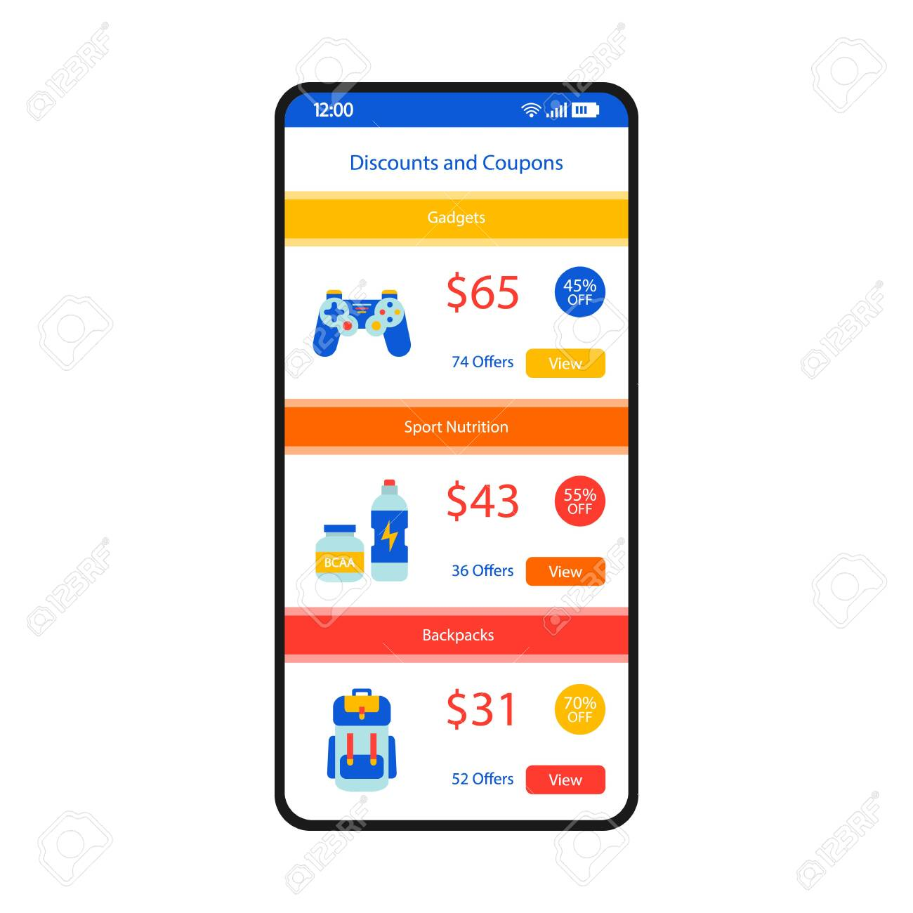 Discounts and coupons smartphone interface vector template  Mobile