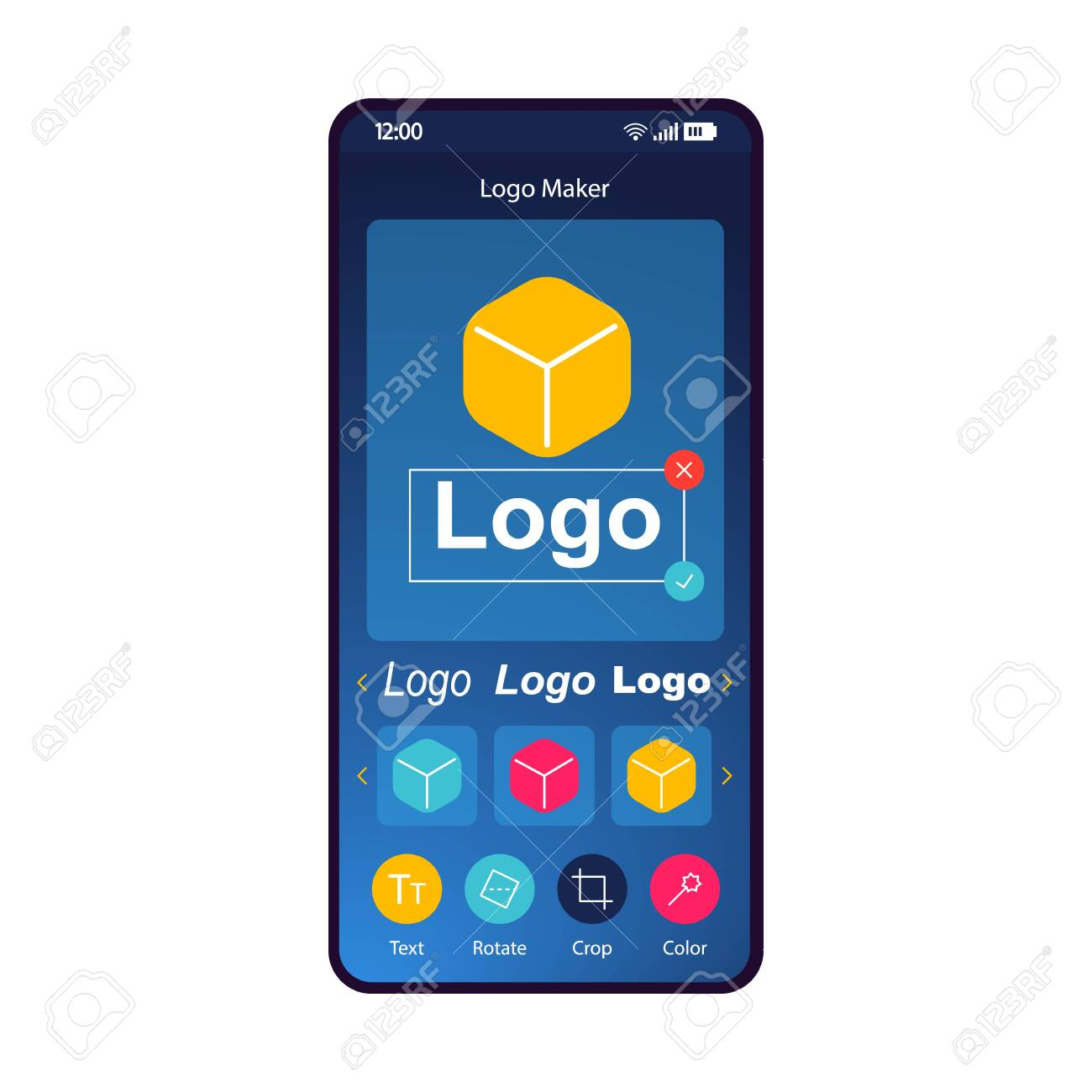 Logo maker app smartphone interface template. Online logotype.. on community builder, word builder, sentence builder, home builder, car builder,