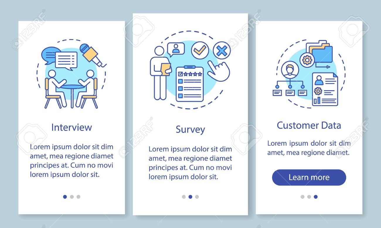 Customers profile methods onboarding mobile app page screen with linear concepts. Interview, survey, customer data walkthrough steps, instructions. UX, UI, GUI vector template with illustrations - 129558036