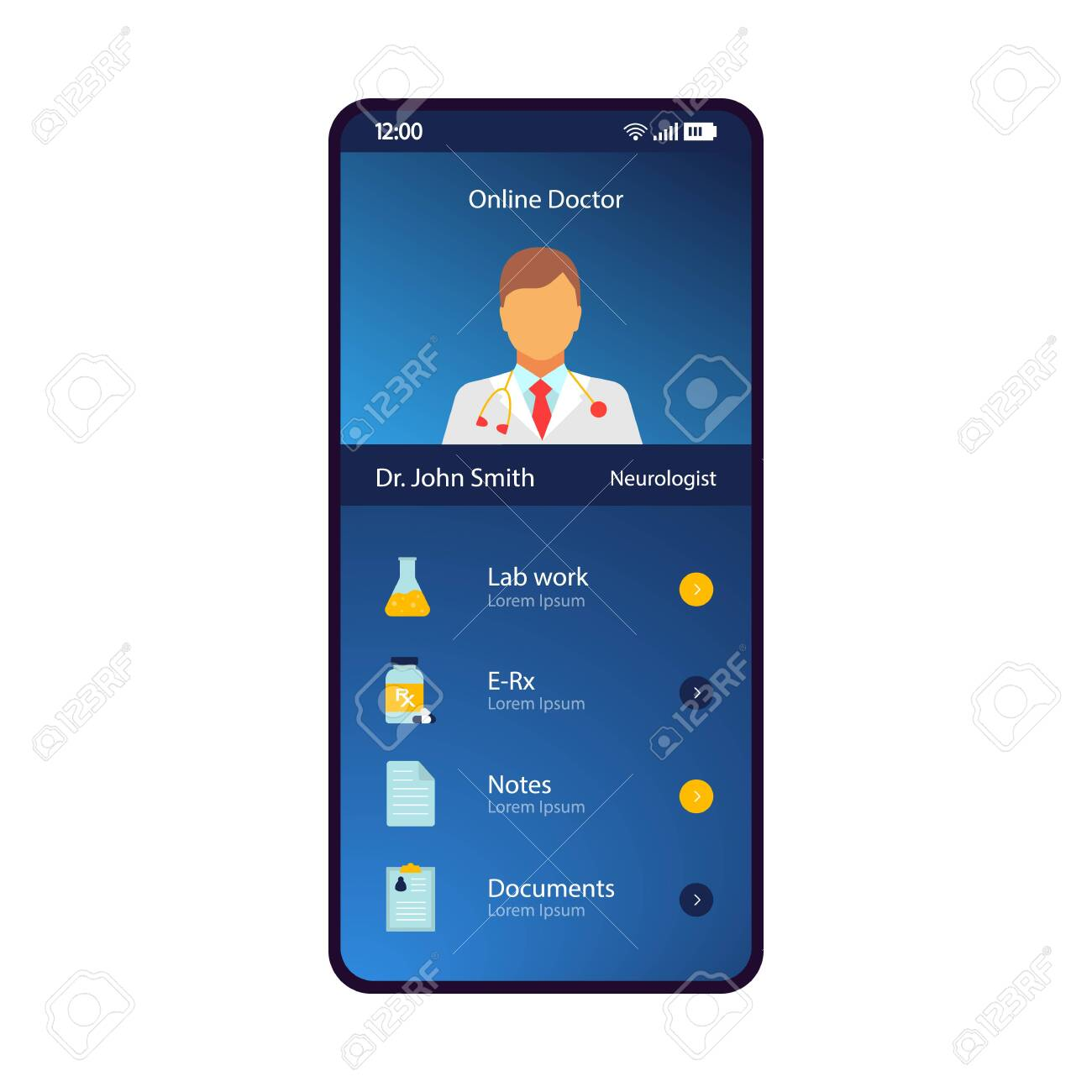 Online doctor profile smartphone interface vector template  Mobile