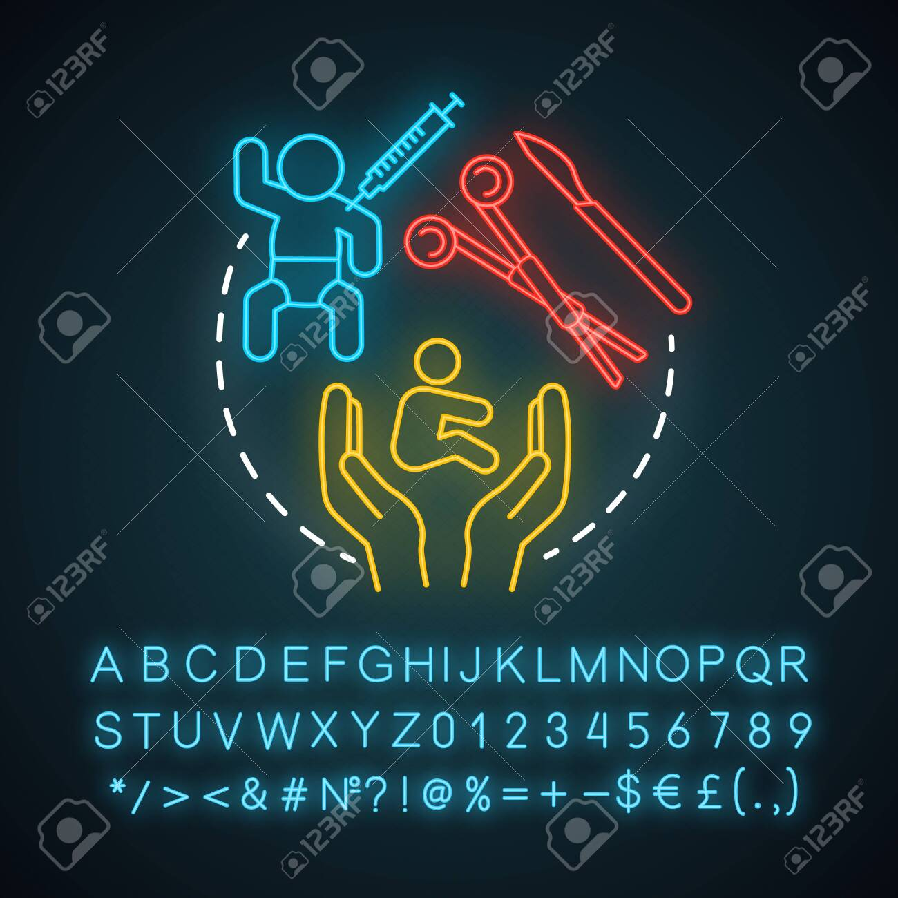 Pediatric Plastic Surgery Neon Light Icon Childcare Improve Royalty Free Cliparts Vectors And Stock Illustration Image 129558421