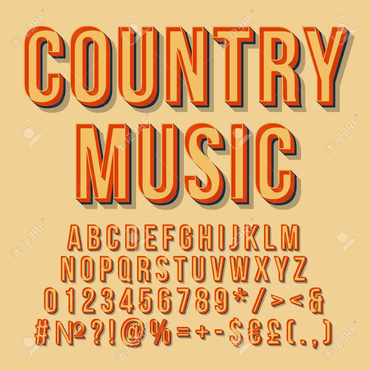 Country music vintage 3d vector lettering  Retro bold font, typeface