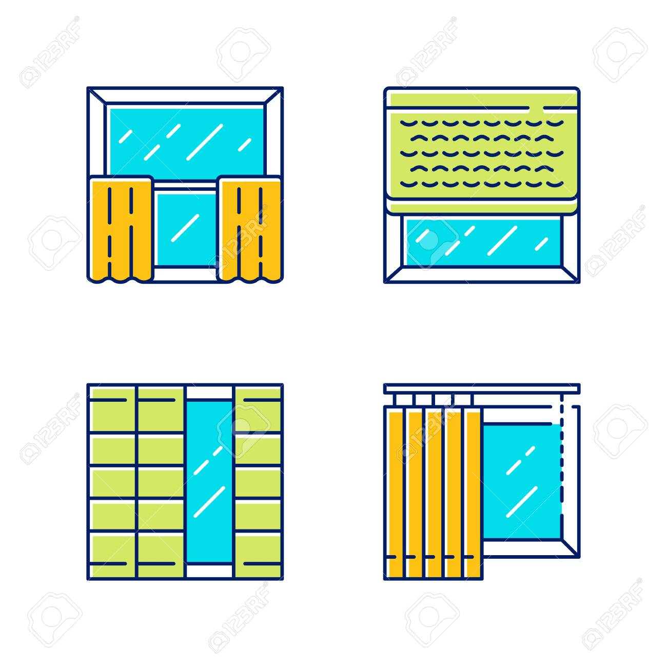 Window Decoration Color Icons Set Cafe Curtains Vertical Blinds Royalty Free Cliparts Vectors And Stock Illustration Image 128638177