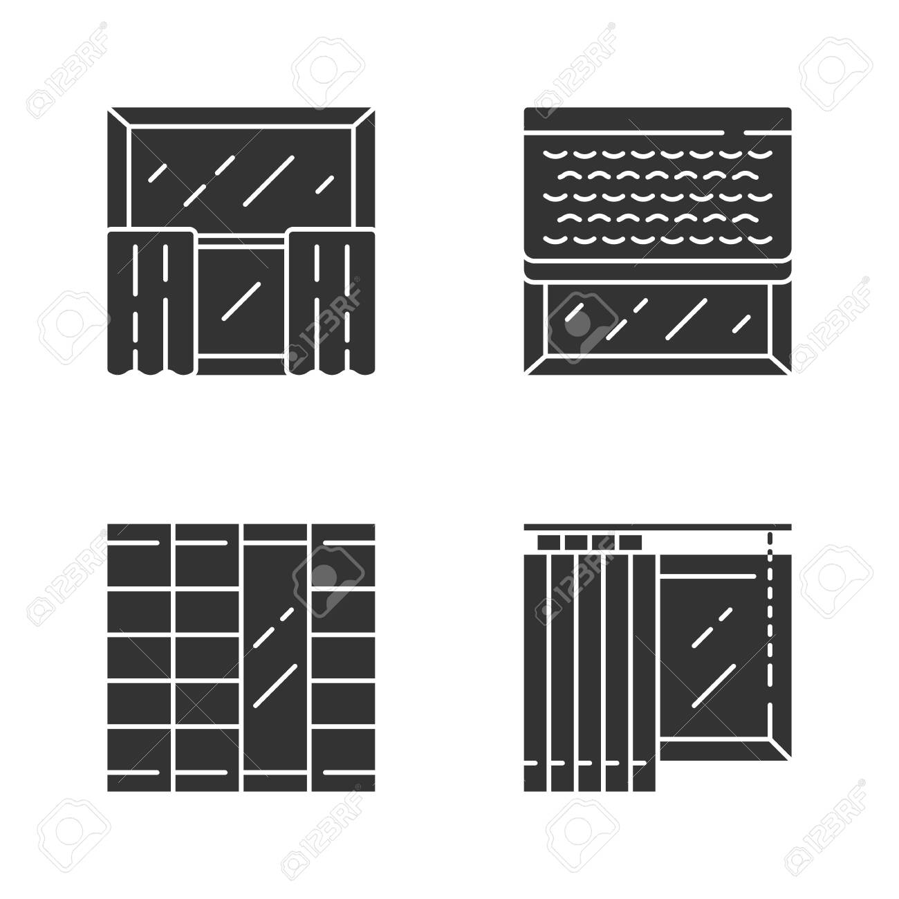 Window Decoration Glyph Icons Set Cafe Curtains Vertical Blinds Royalty Free Cliparts Vectors And Stock Illustration Image 128628017