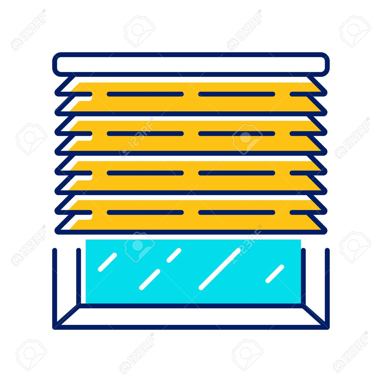 Venetian Blinds Color Icon House And Office Window Jalousie