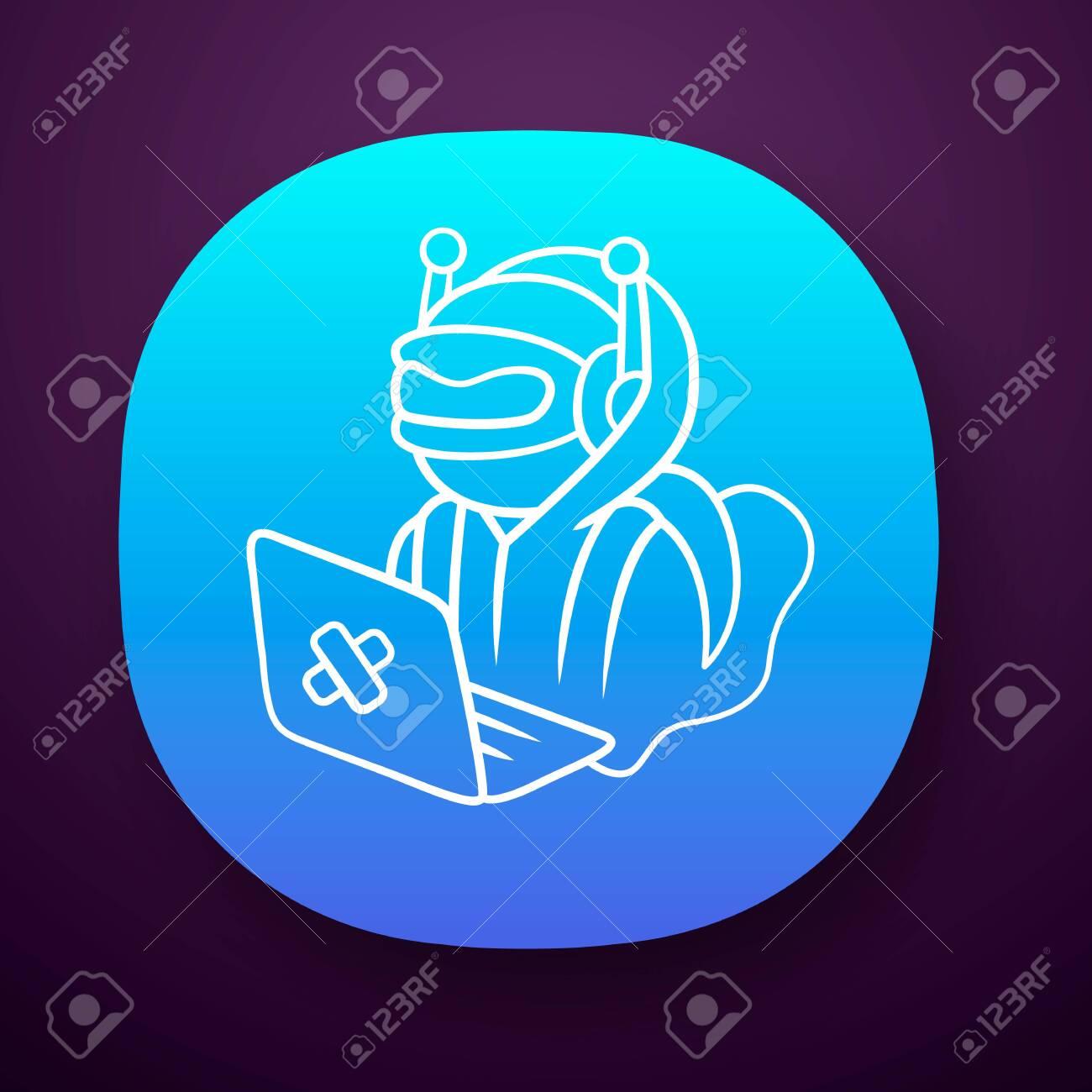 Hacker bot app icon  Virus robot  Cyber pirate attack, crime,
