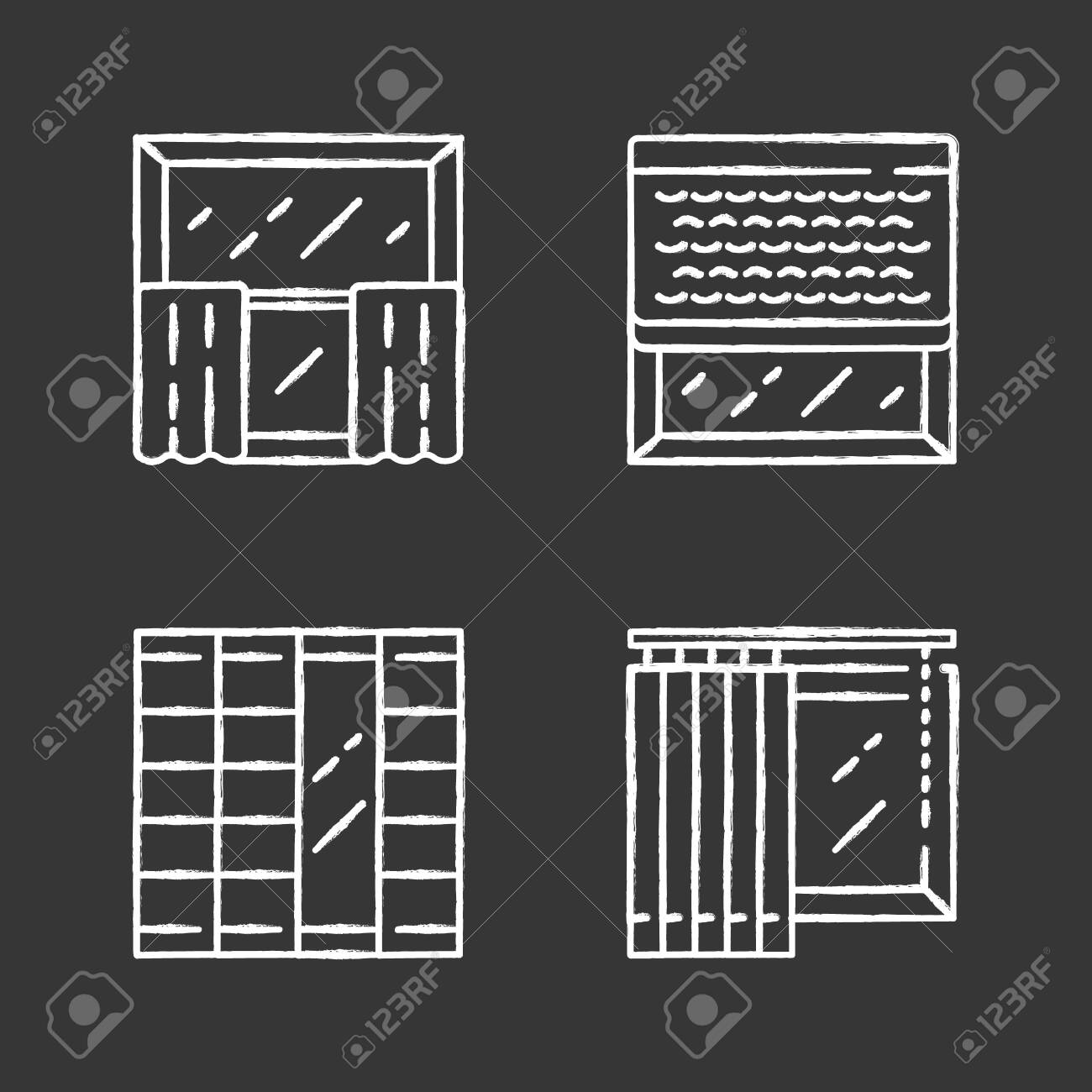 Window Decoration Chalk Icons Set Cafe Curtains Vertical Blinds Royalty Free Cliparts Vectors And Stock Illustration Image 128693983