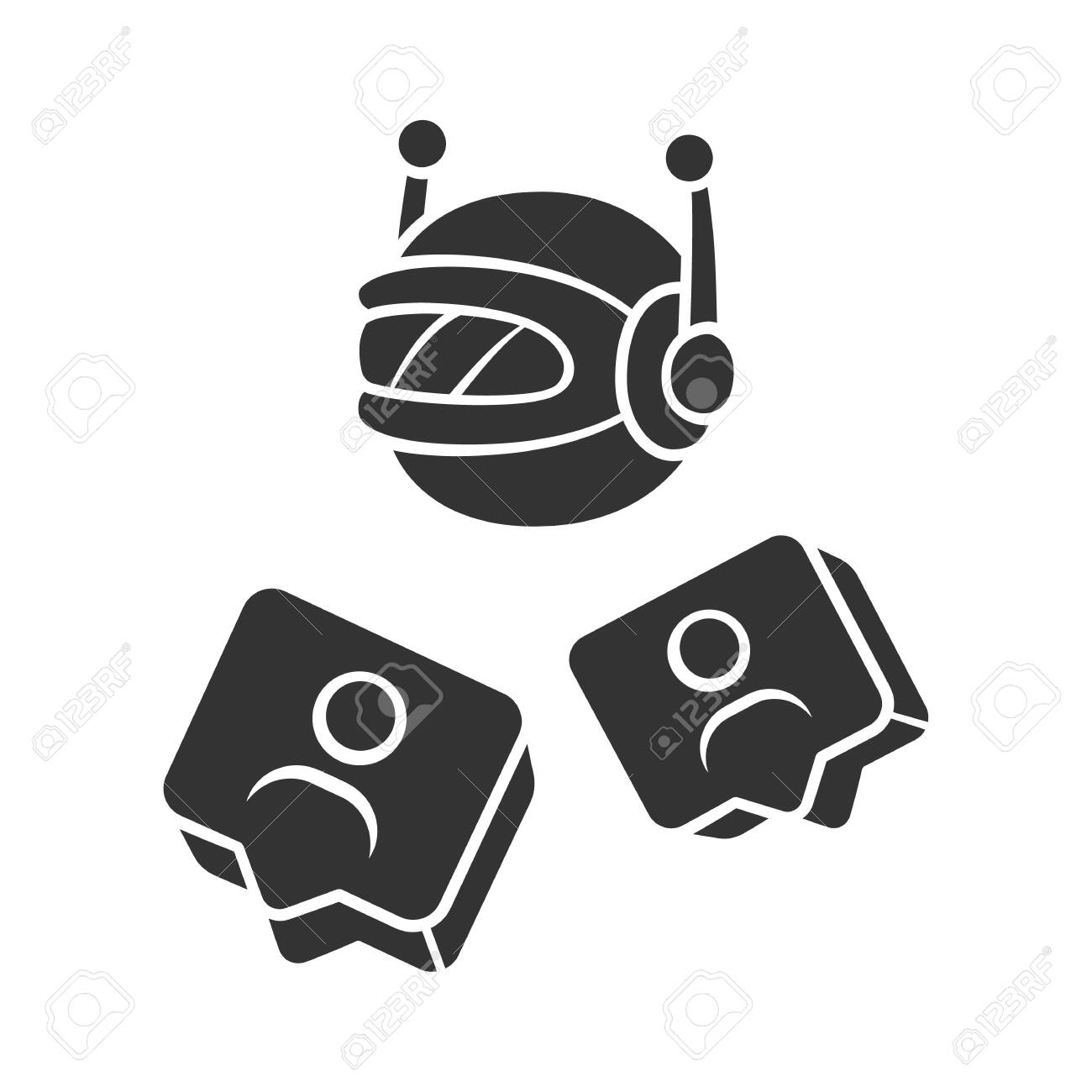 Social bot glyph icon  Socialbot, chatbot  SMM automation tool